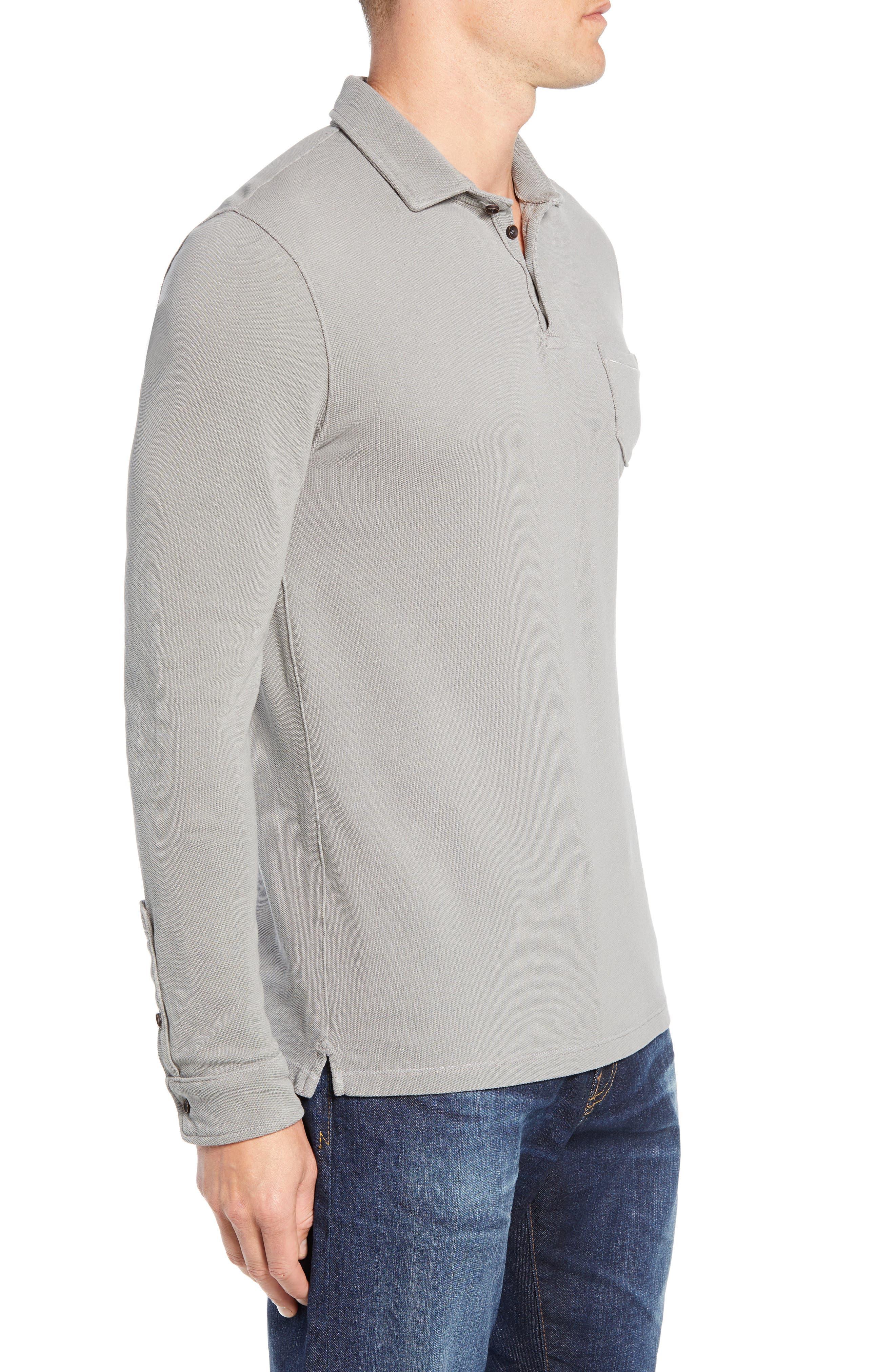 Regular Fit Long Sleeve Piqué Polo,                             Alternate thumbnail 3, color,                             GREY