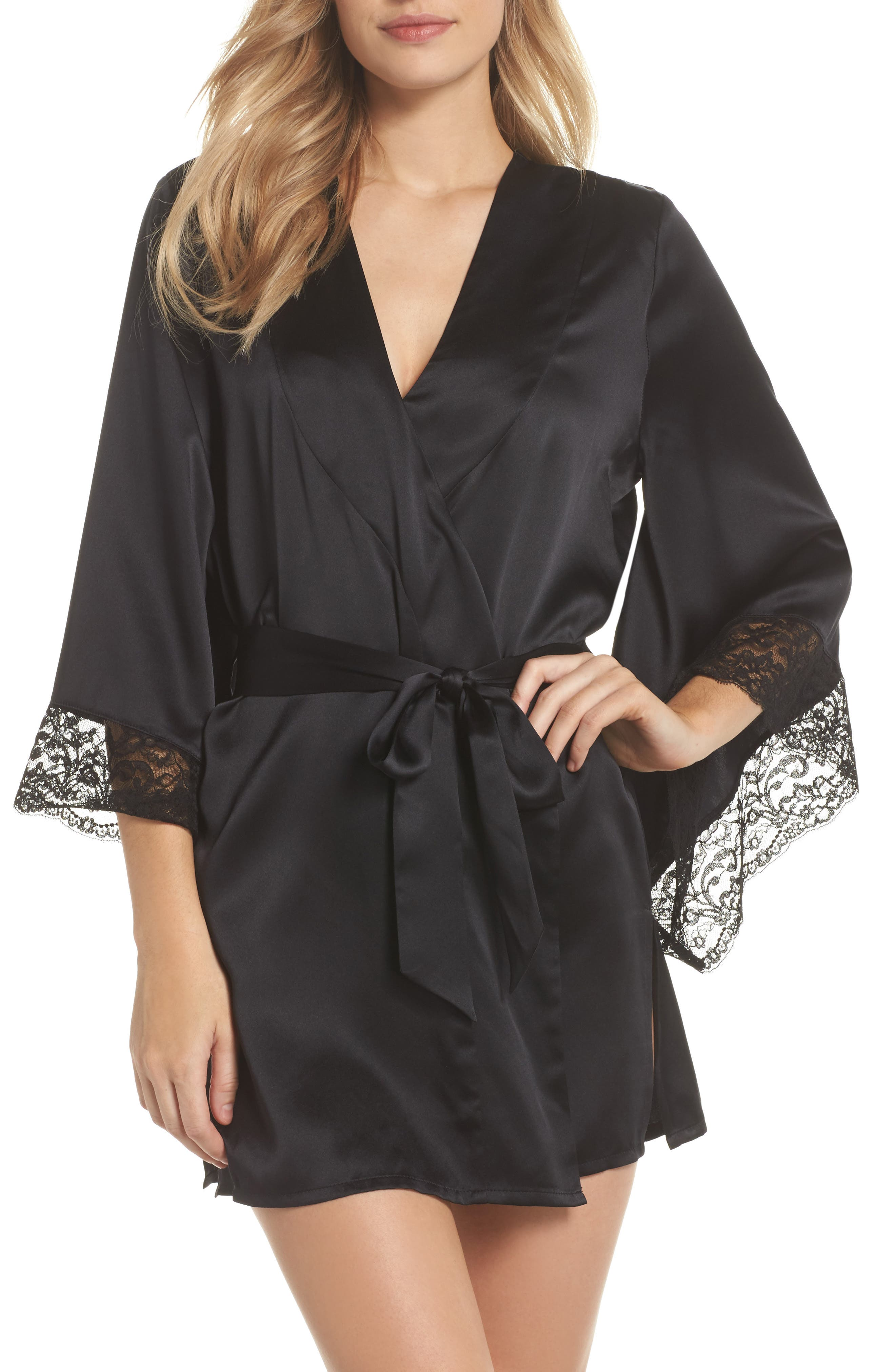 Yukata Lace & Silk Robe,                         Main,                         color, BLACK