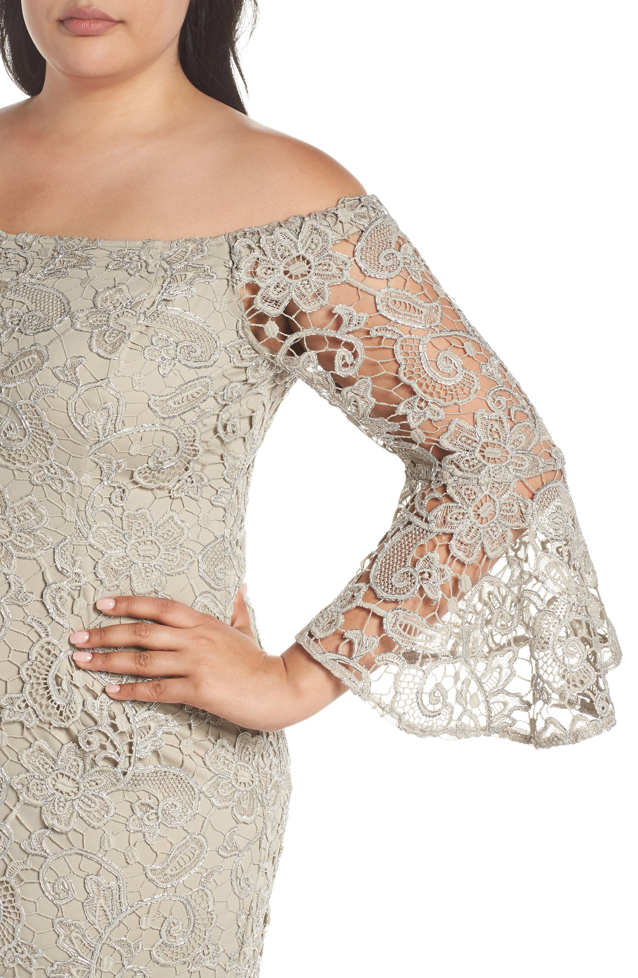 Lace Off the Shoulder Bell Sleeve Dress,                             Alternate thumbnail 4, color,                             250
