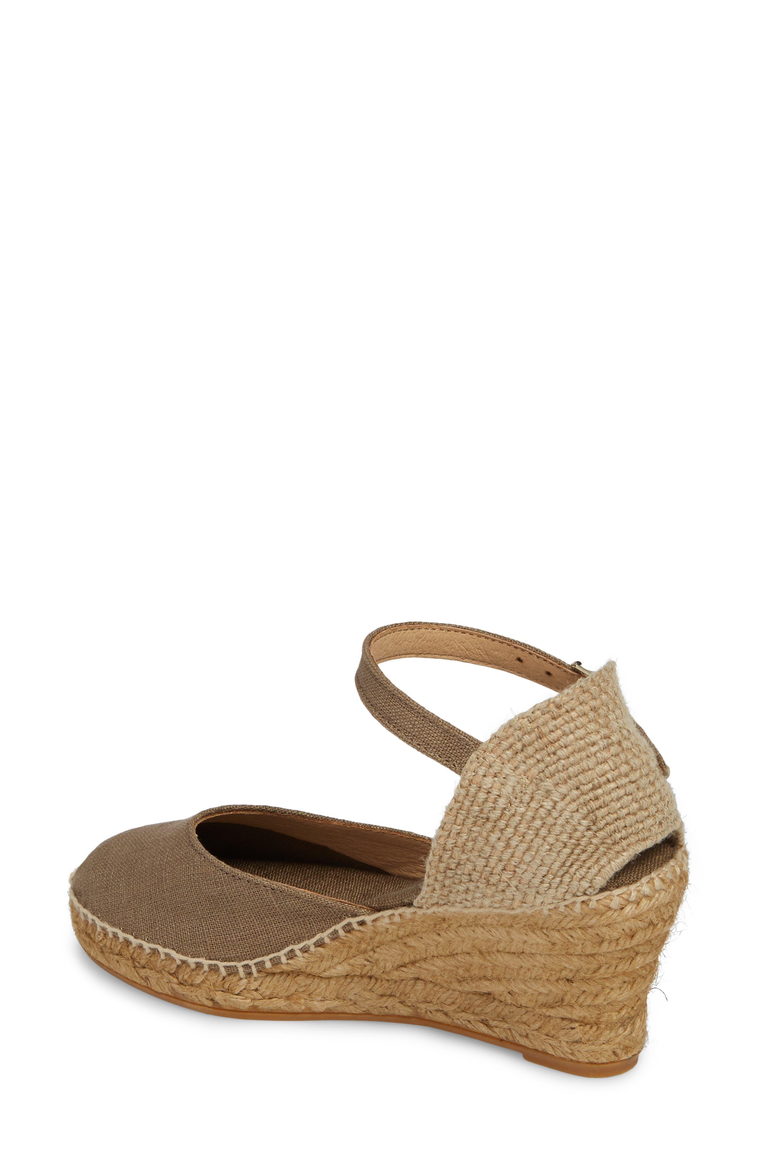 'Caldes' Linen Wedge Sandal,                             Alternate thumbnail 2, color,                             TAUPE FABRIC