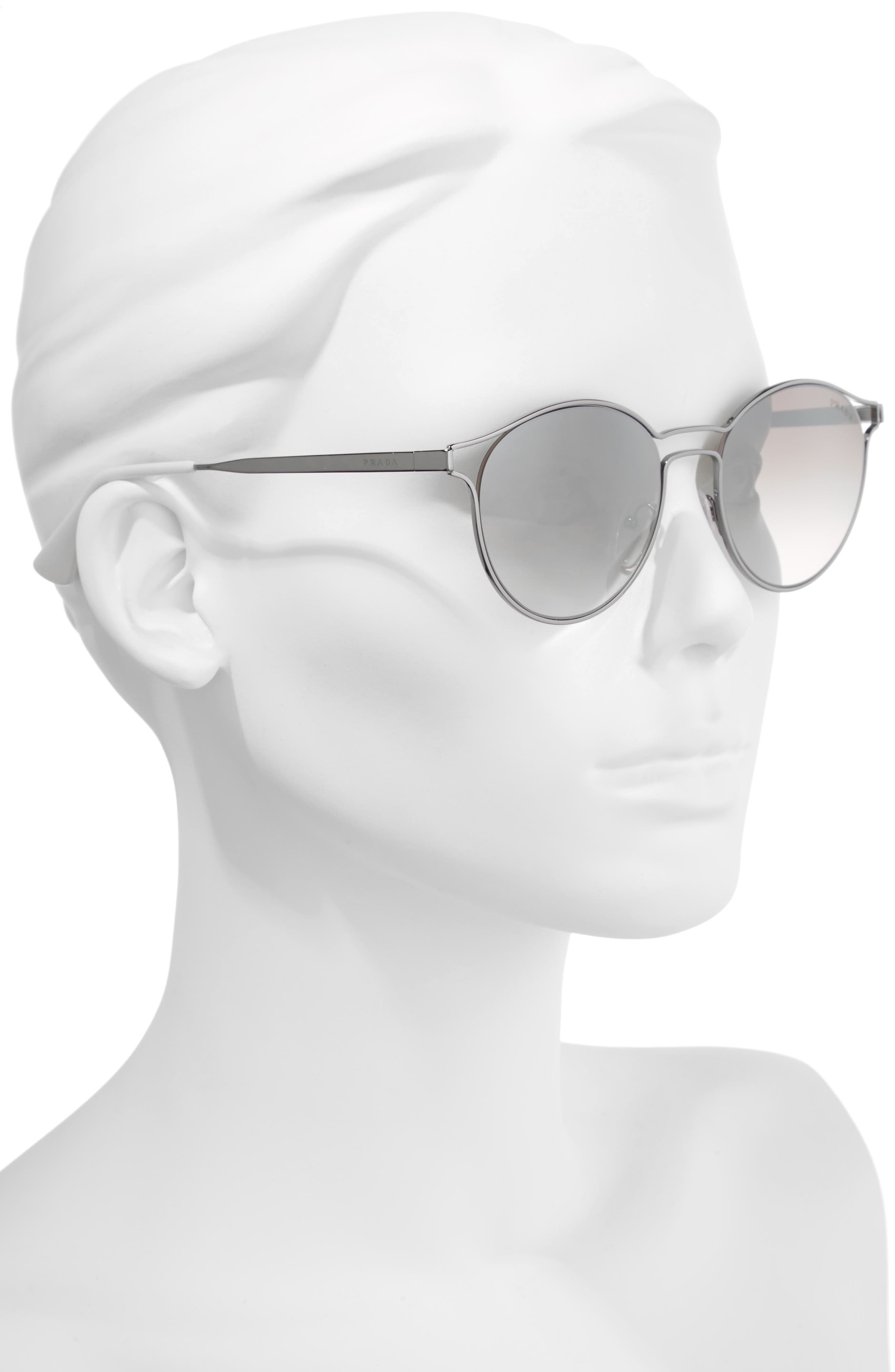 53mm Round Mirrored Sunglasses,                             Alternate thumbnail 3, color,                             062