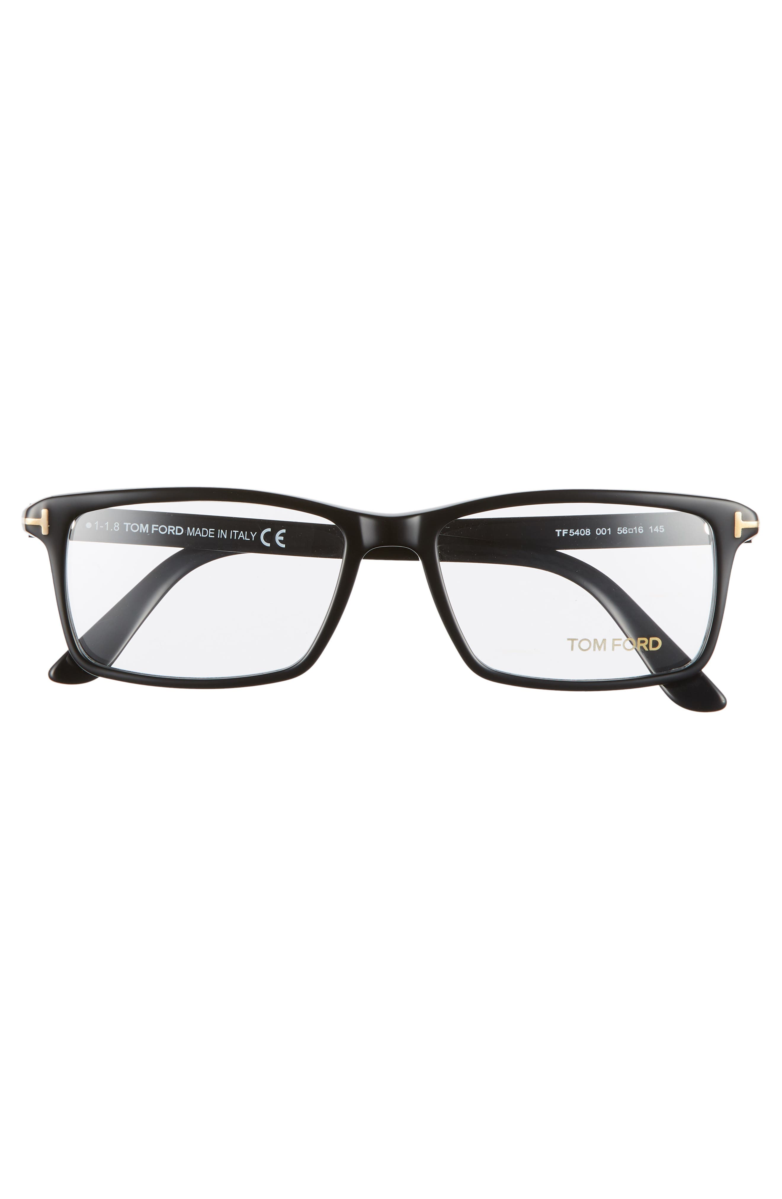 56mm Rectangle Optical Glasses,                             Alternate thumbnail 3, color,                             SHINY BLACK/ SHINY ROSE GOLD