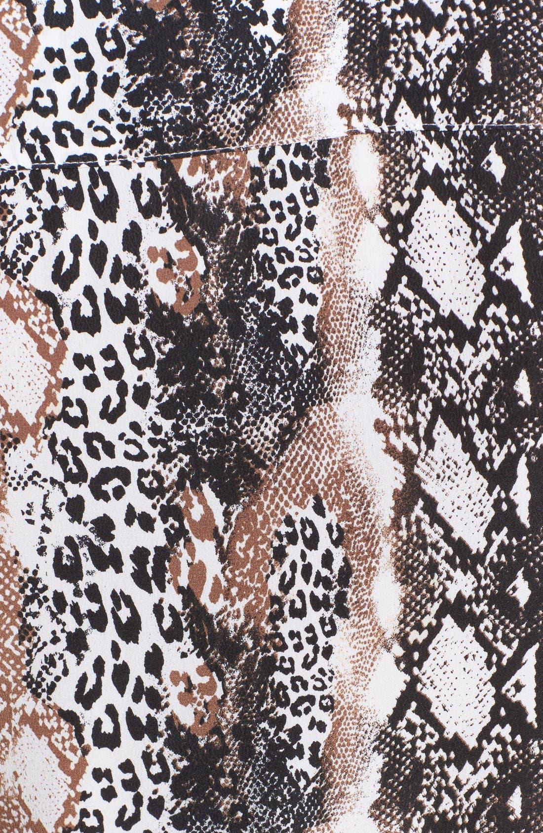 'Teagan' Print Silk Dress,                             Alternate thumbnail 3, color,                             118