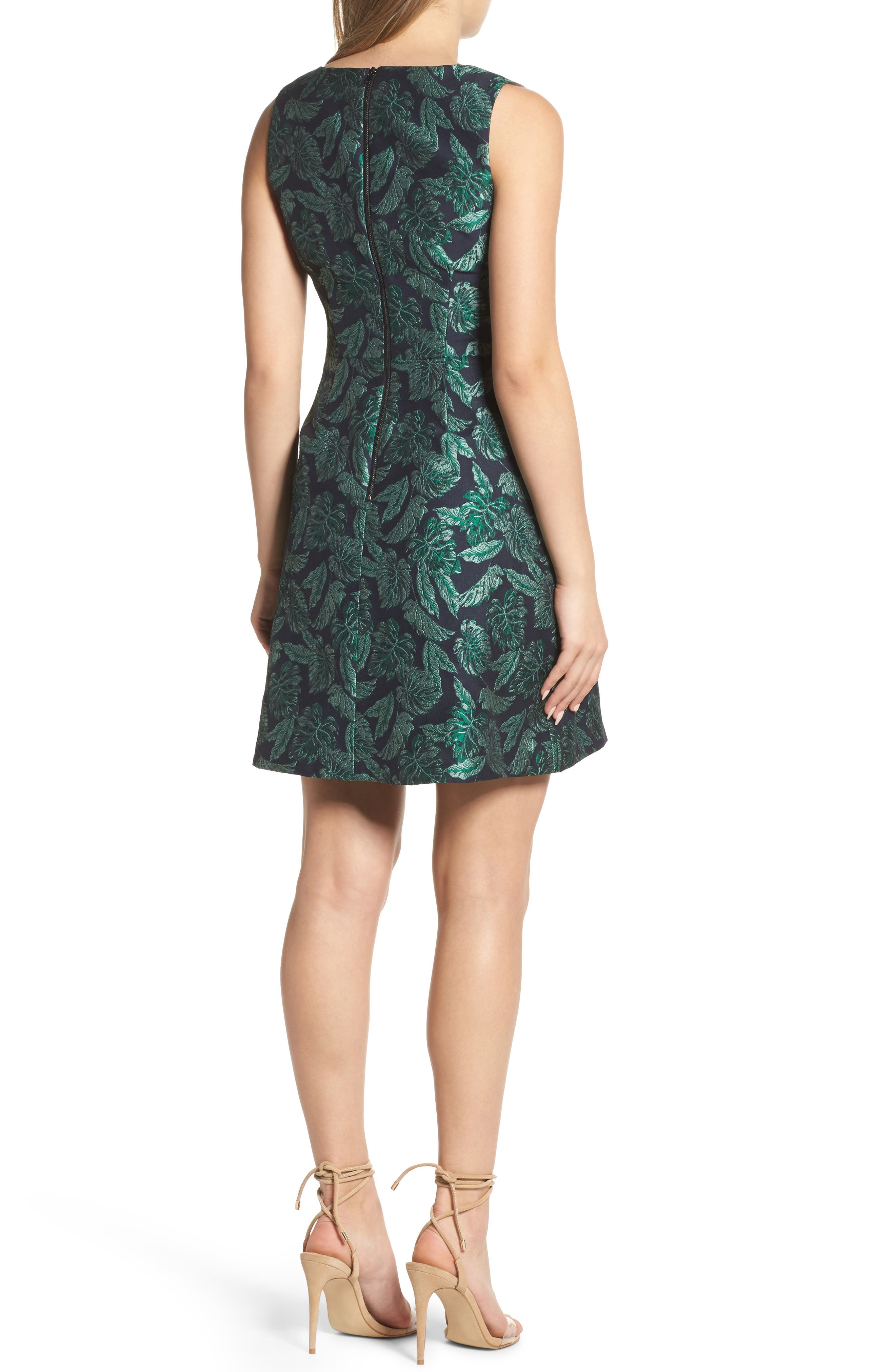 Palm Jacquard A-Line Dress,                             Alternate thumbnail 2, color,                             BLUE/ GREEN