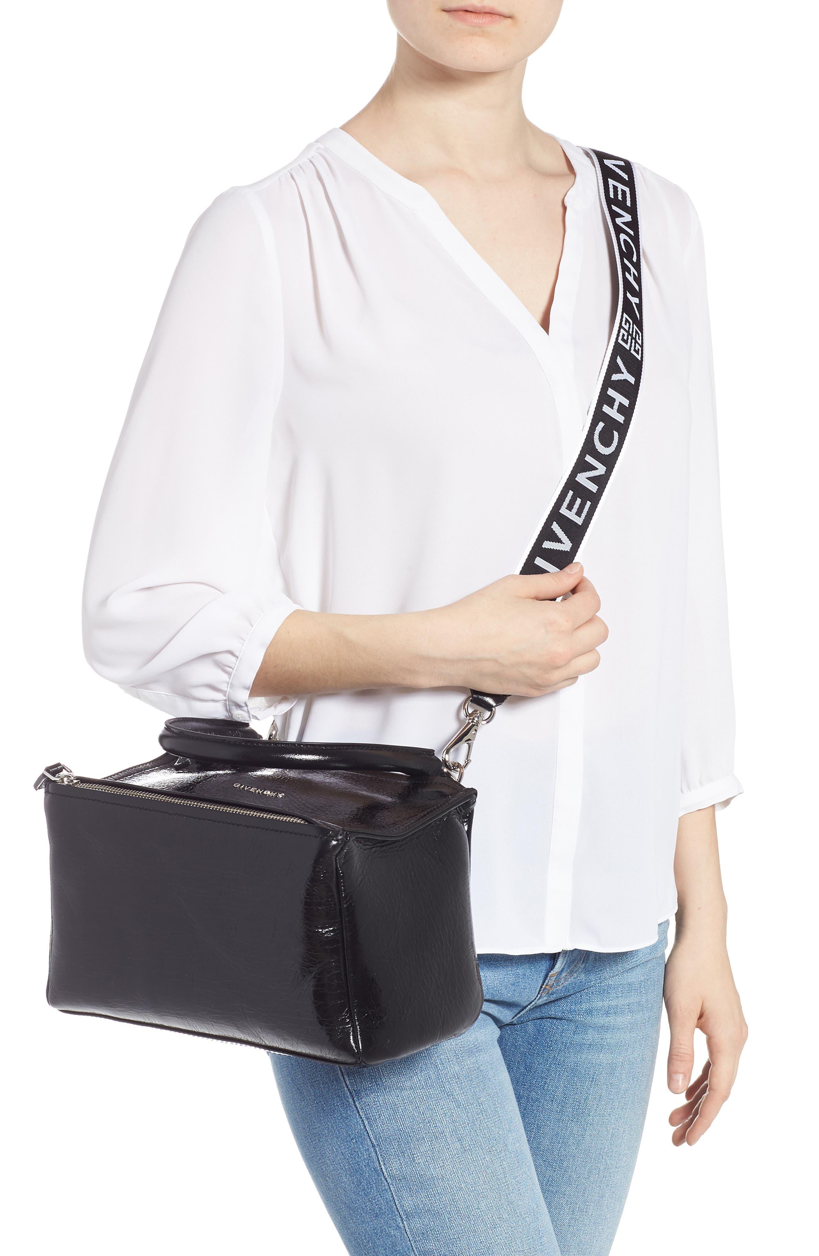 Small Pandora Leather Shoulder Bag,                             Alternate thumbnail 2, color,                             BLACK