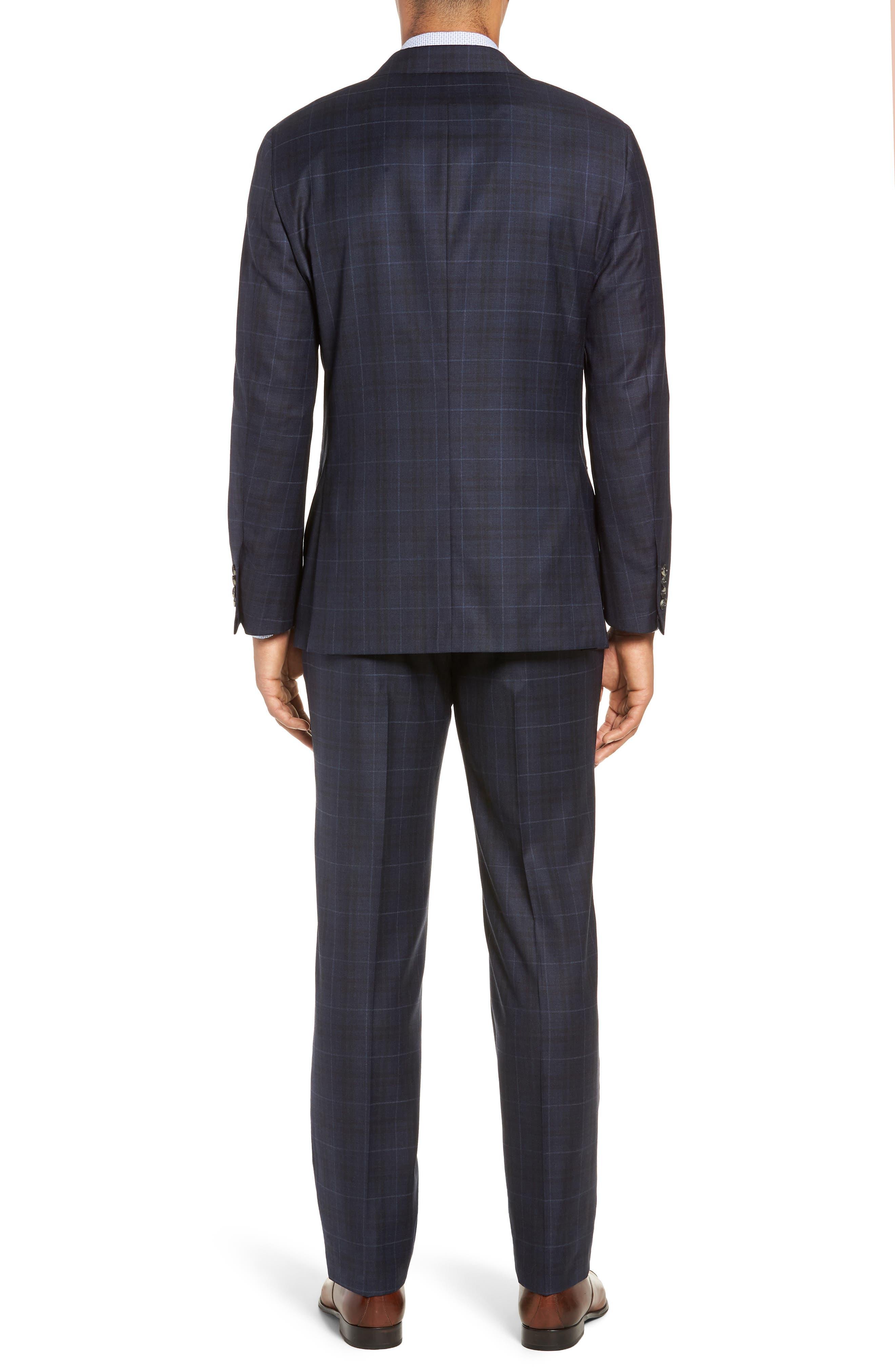 Classic Fit Plaid Wool Suit,                             Alternate thumbnail 2, color,                             DARK BLUE