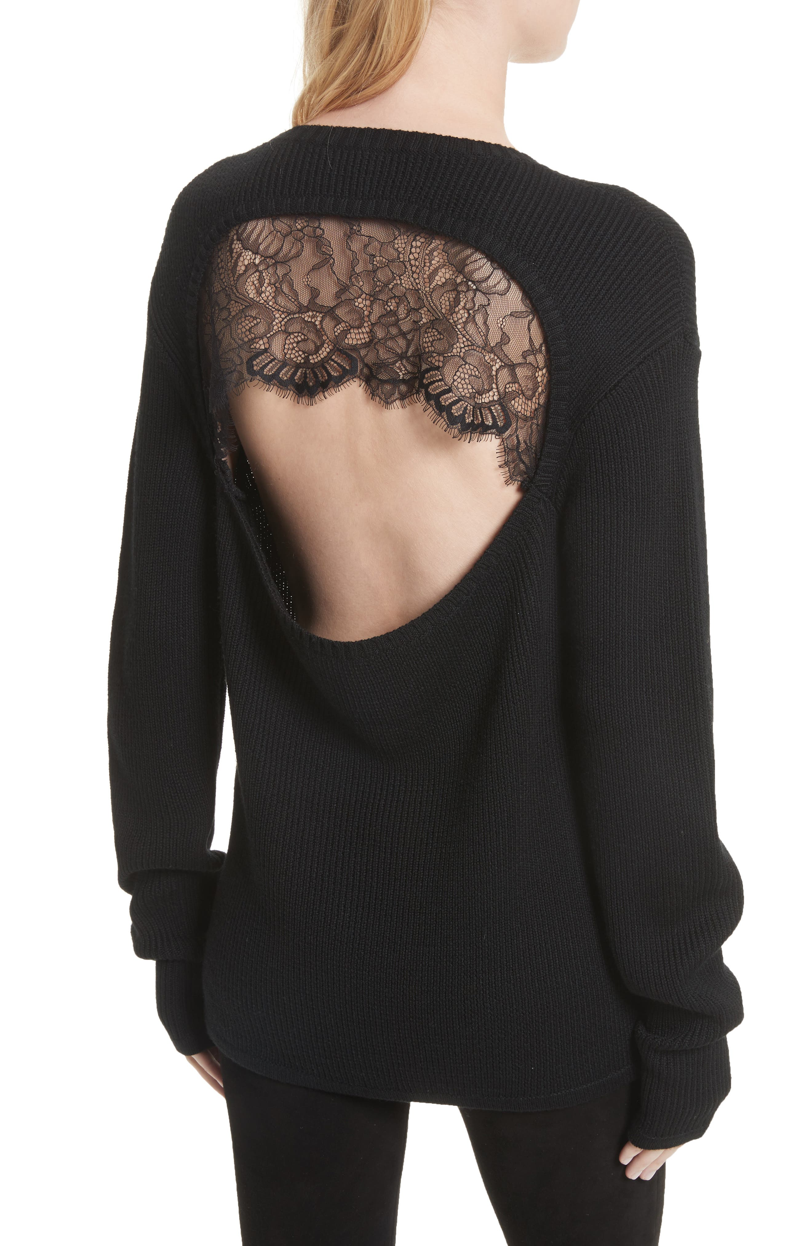 Antonio Lace Back Wool Sweater,                             Alternate thumbnail 2, color,                             001