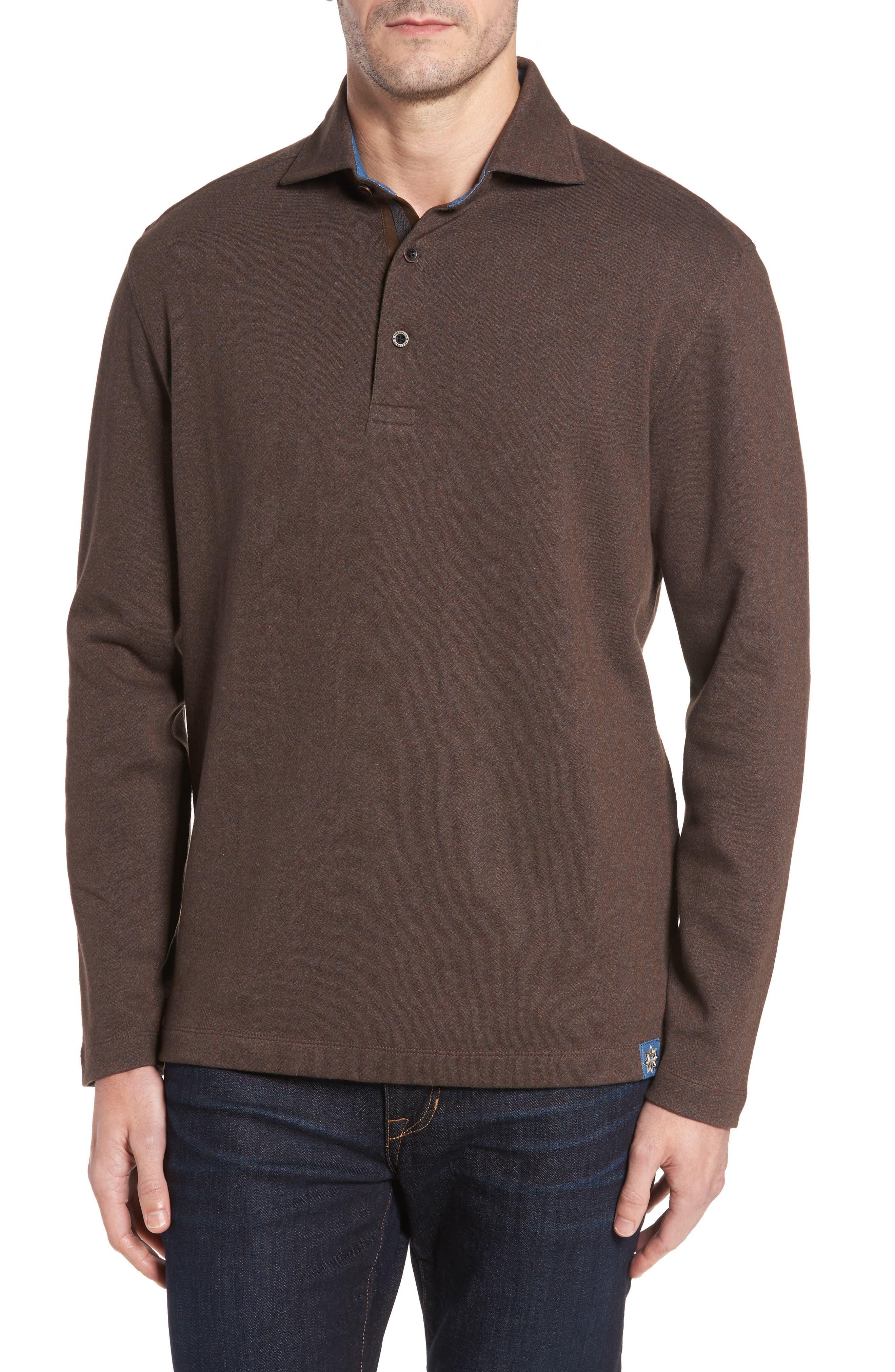 Reiner Herringbone Long Sleeve Polo,                         Main,                         color, 227