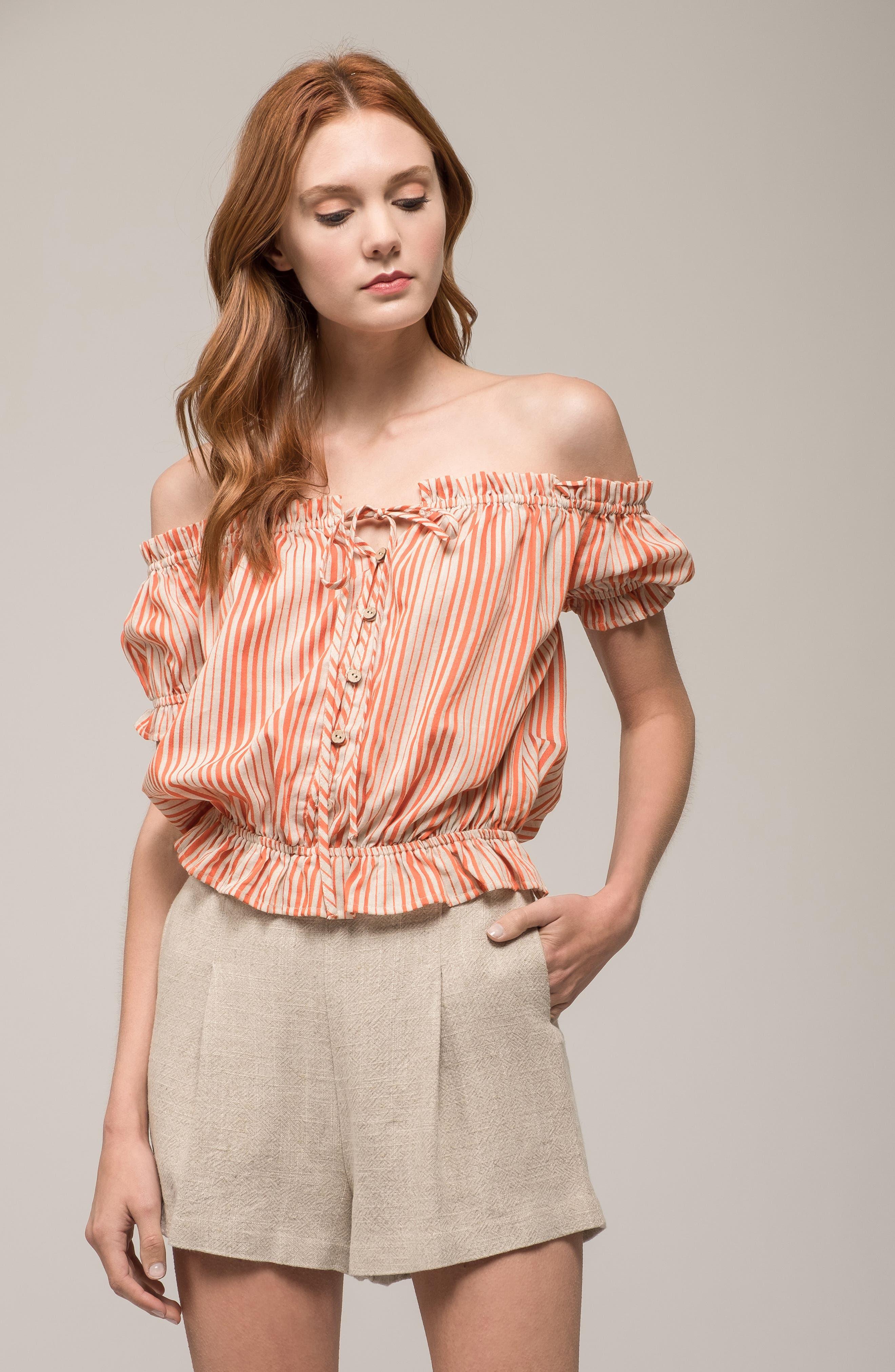 Stripe Off the Shoulder Linen & Cotton Top,                             Alternate thumbnail 7, color,                             800