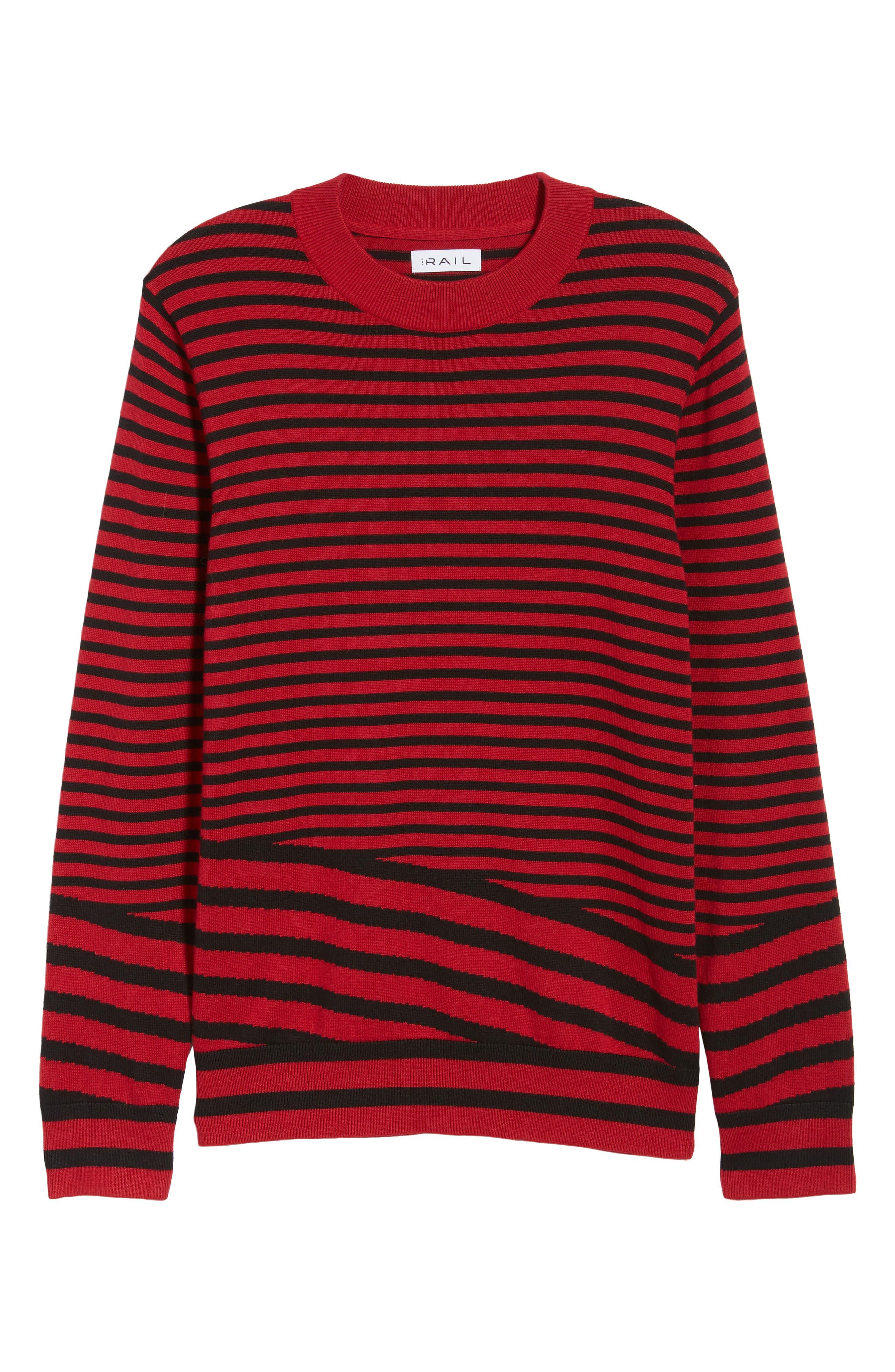 Asymmetrical Stripe Longline Sweater,                             Alternate thumbnail 6, color,                             RED BLACK RETRO STRIPE