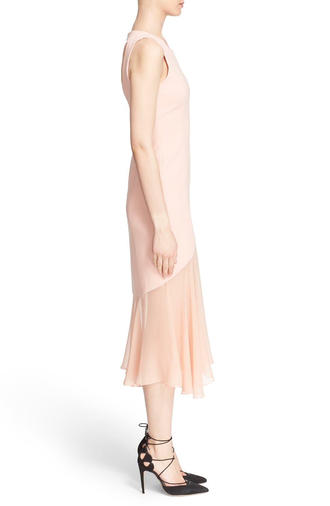 Sheer Hem Crepe Dress,                             Alternate thumbnail 5, color,                             650