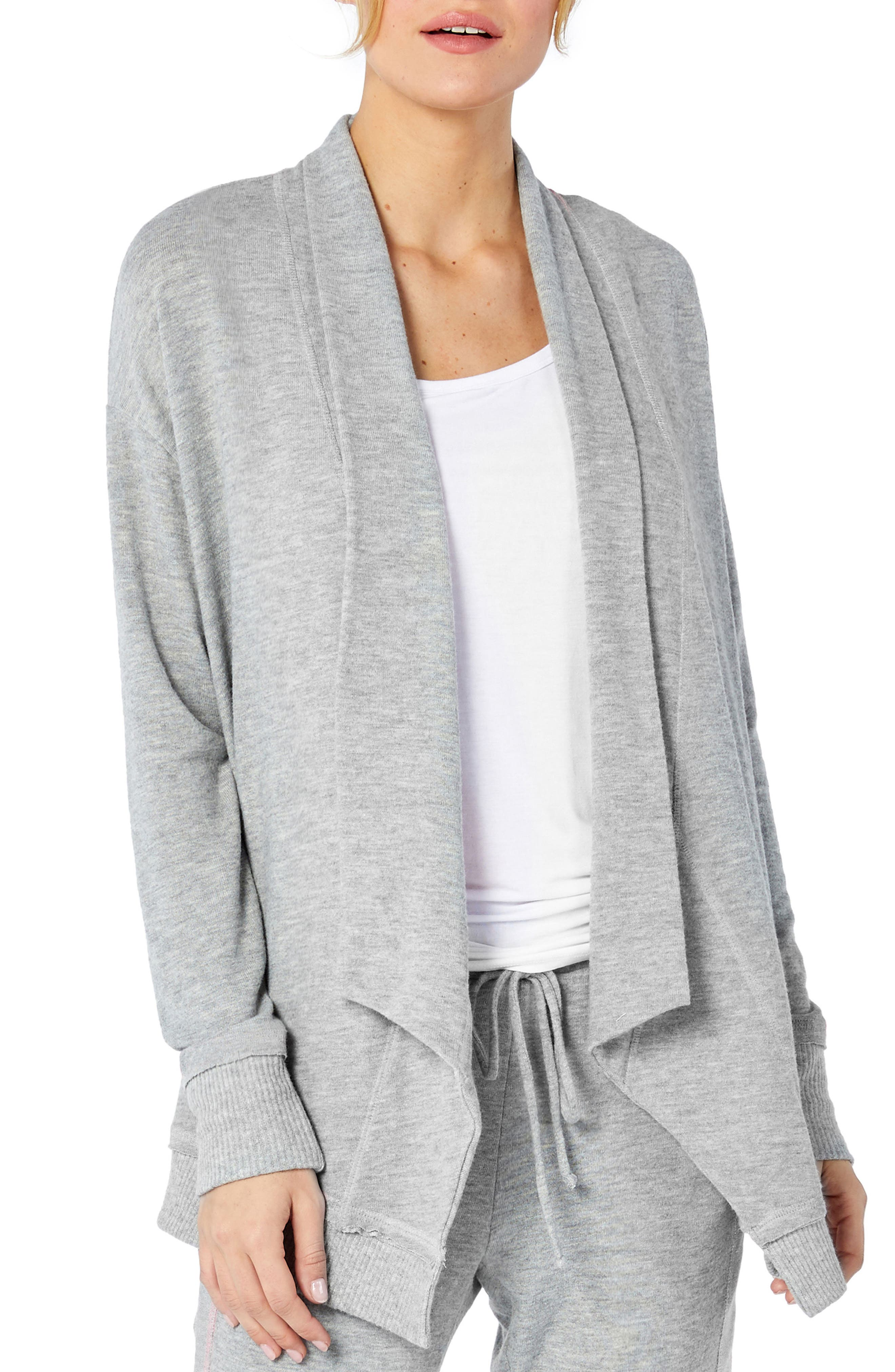 Open Front Cardigan,                         Main,                         color, HEATHER GREY