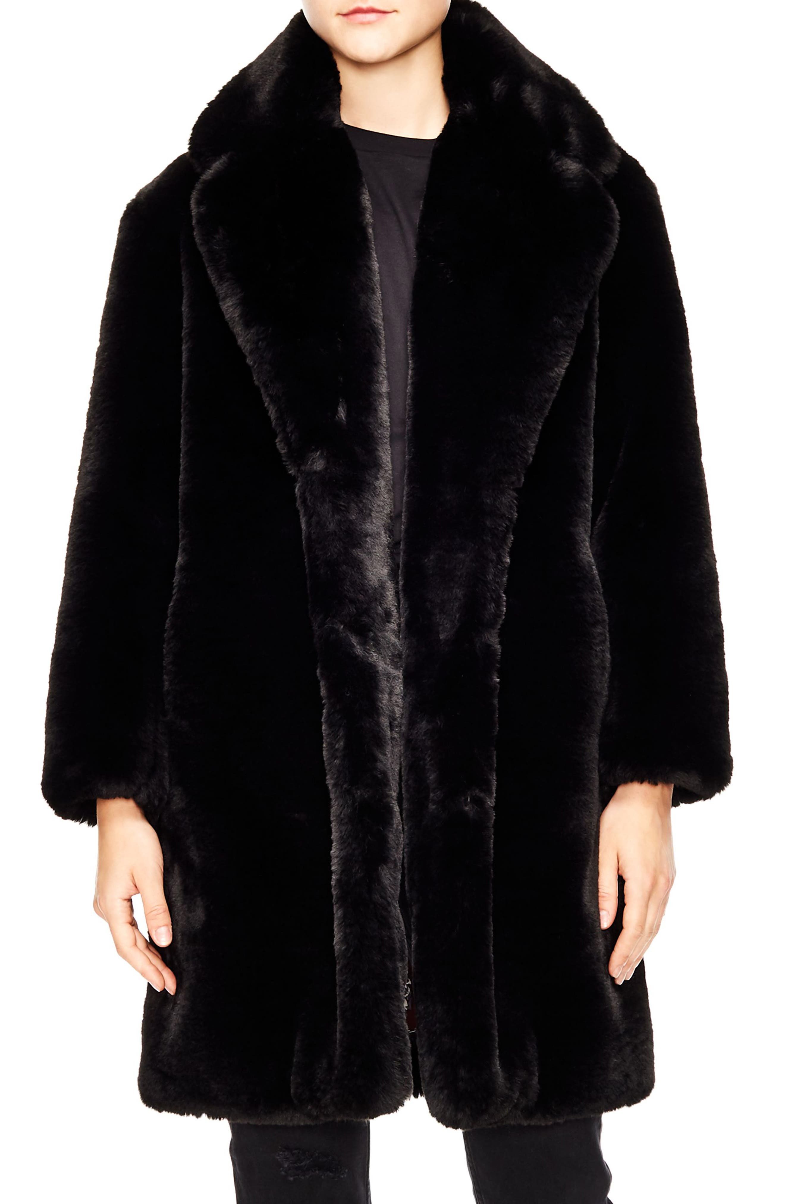 Ballote Faux Fur Coat,                             Main thumbnail 1, color,                             BLACK
