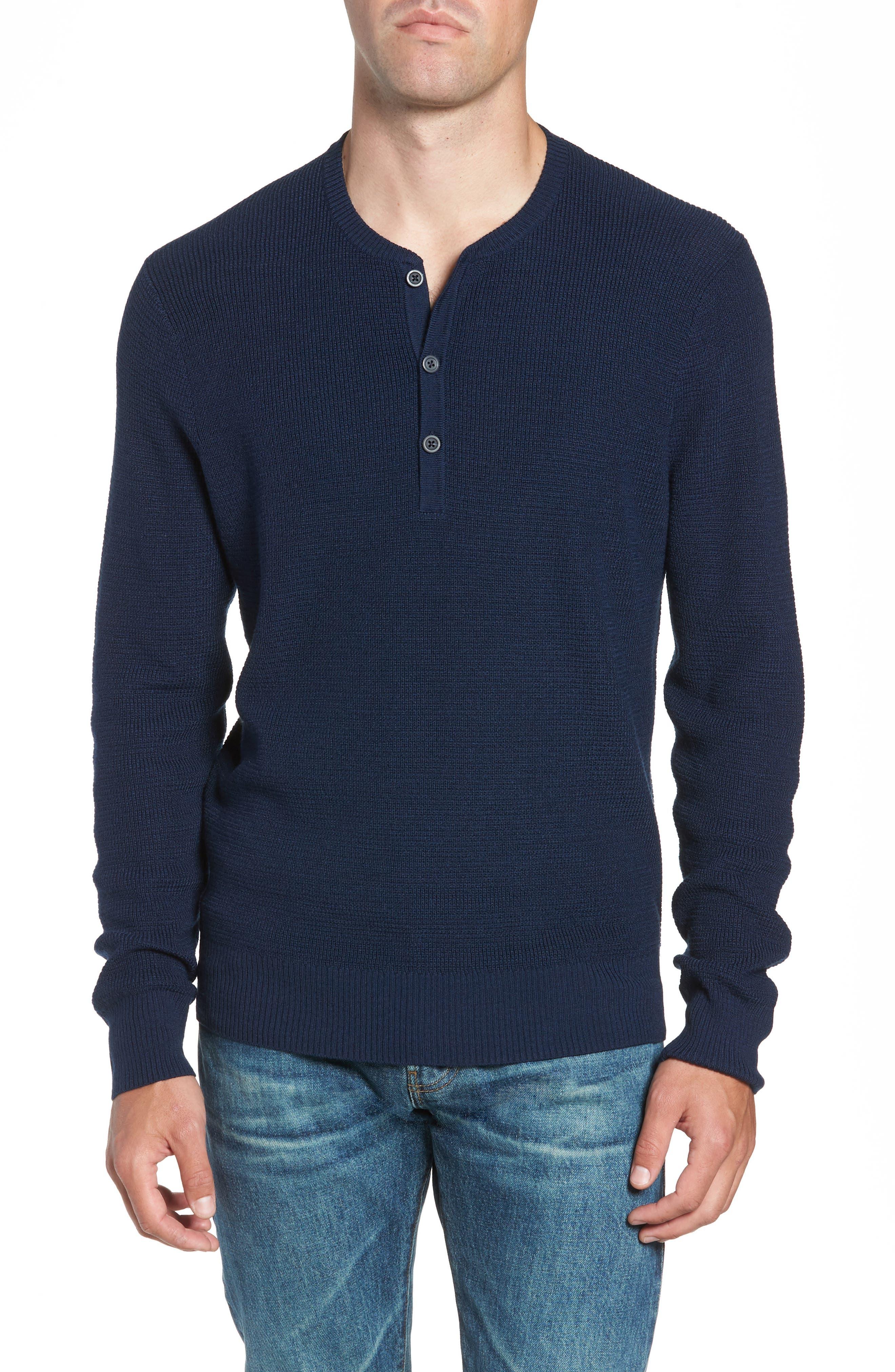 Nordstrom Shop Merino Wool Blend Thermal Henley, Blue