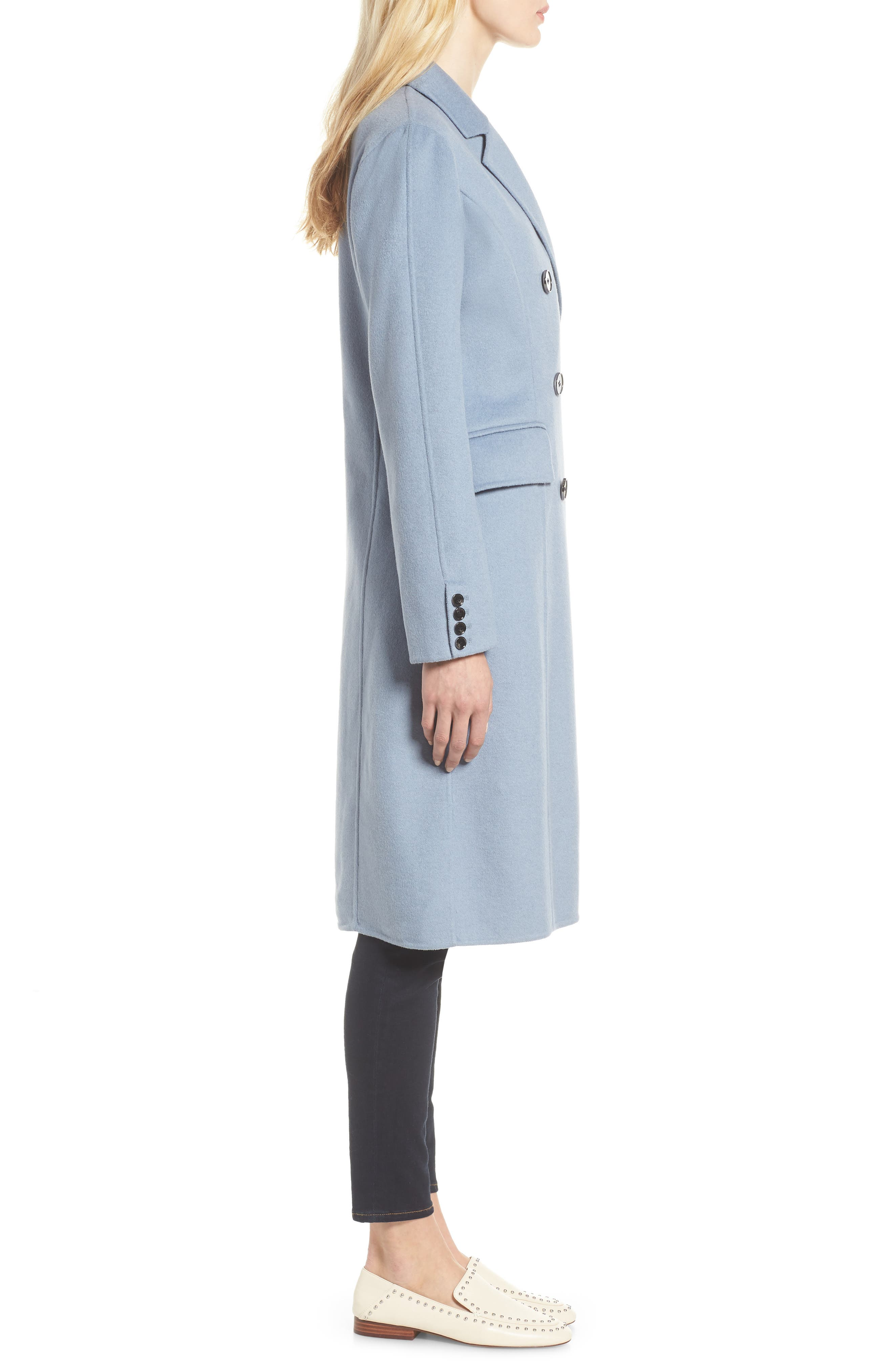Taylor Double Breasted Wool Coat,                             Alternate thumbnail 3, color,                             PALE BLUE
