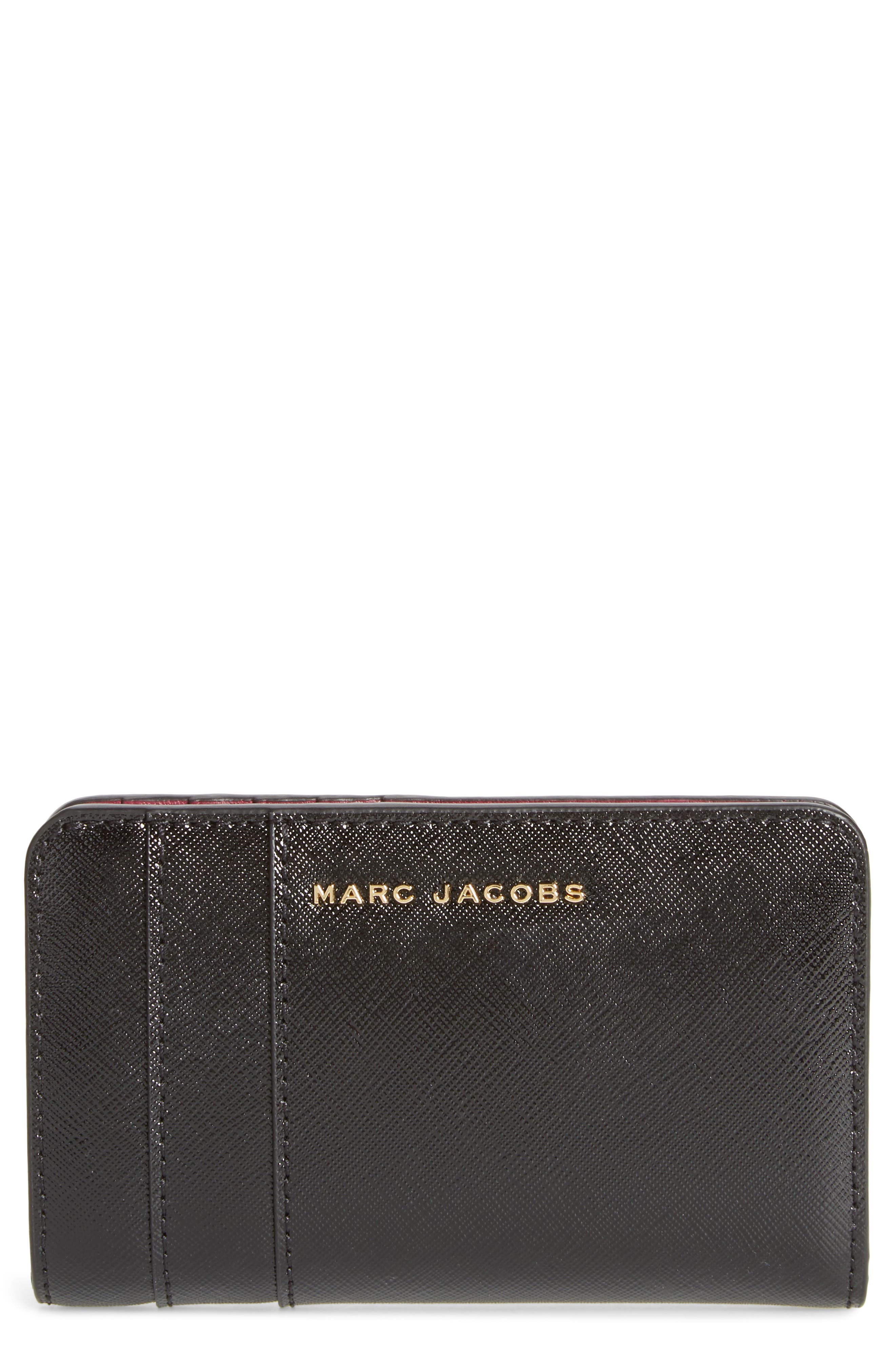 Saffiano Leather Compact Wallet,                         Main,                         color, 001