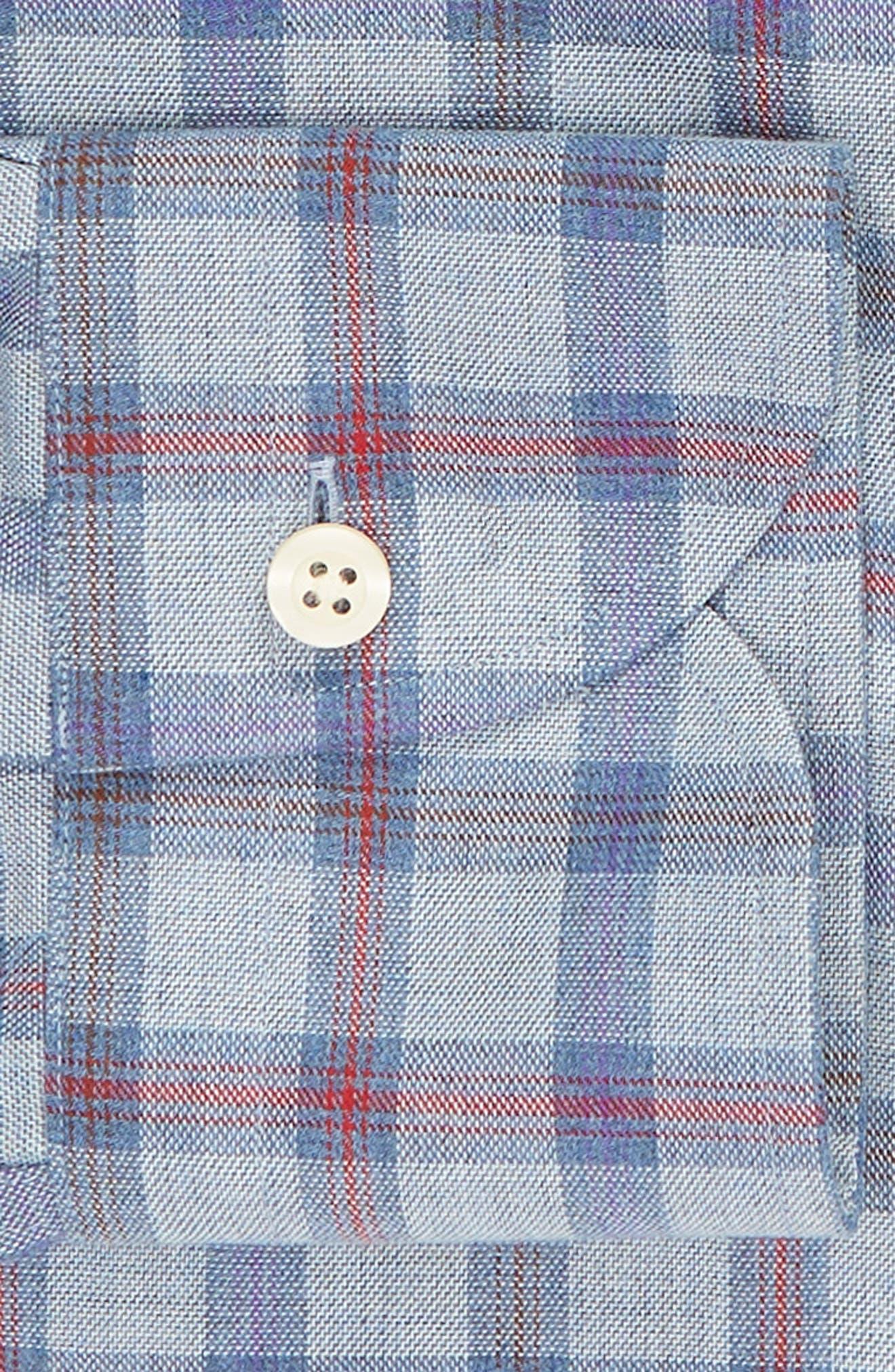 Hilbank Trim Fit Check Dress Shirt,                             Alternate thumbnail 6, color,                             CADET BLUE