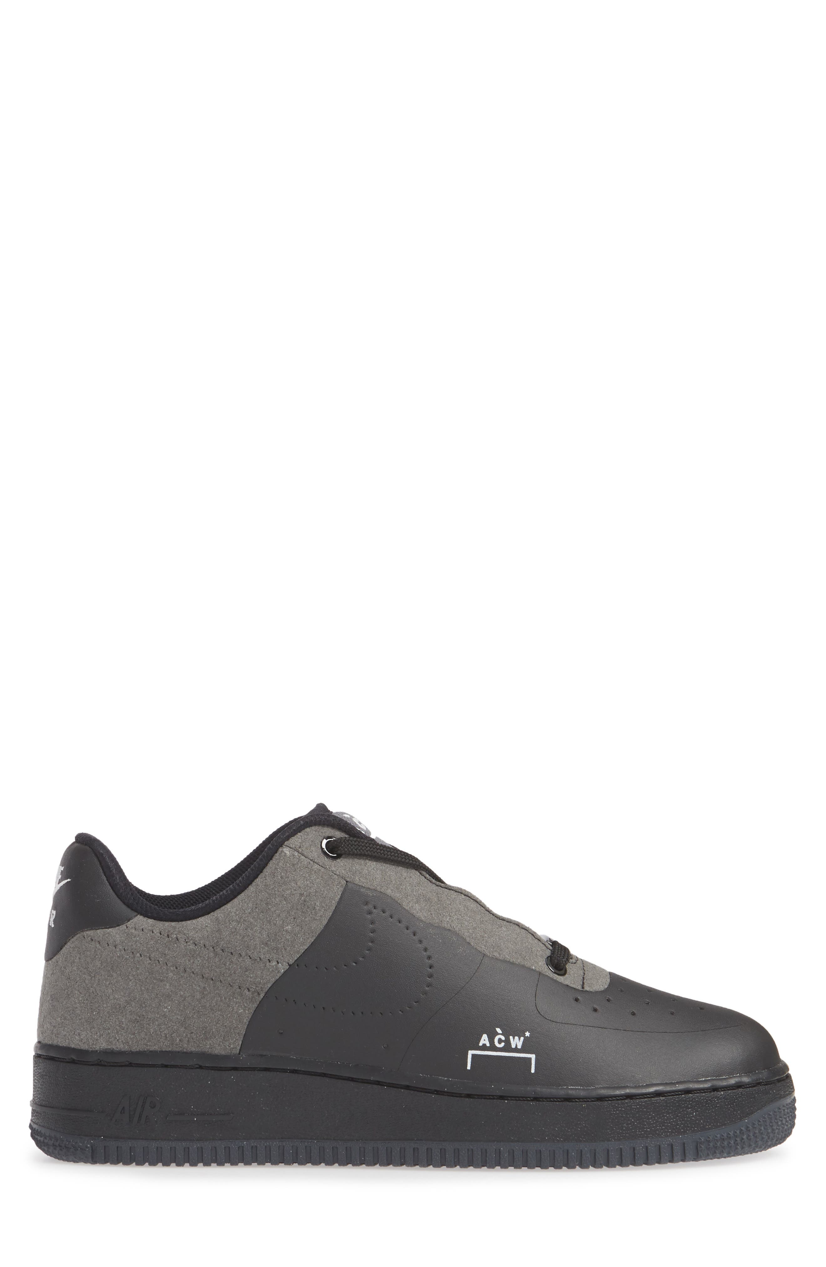 x A-COLD-WALL Air Force 1 '07 Sneaker,                             Alternate thumbnail 3, color,                             BLACK/ WHITE/ DARK GREY