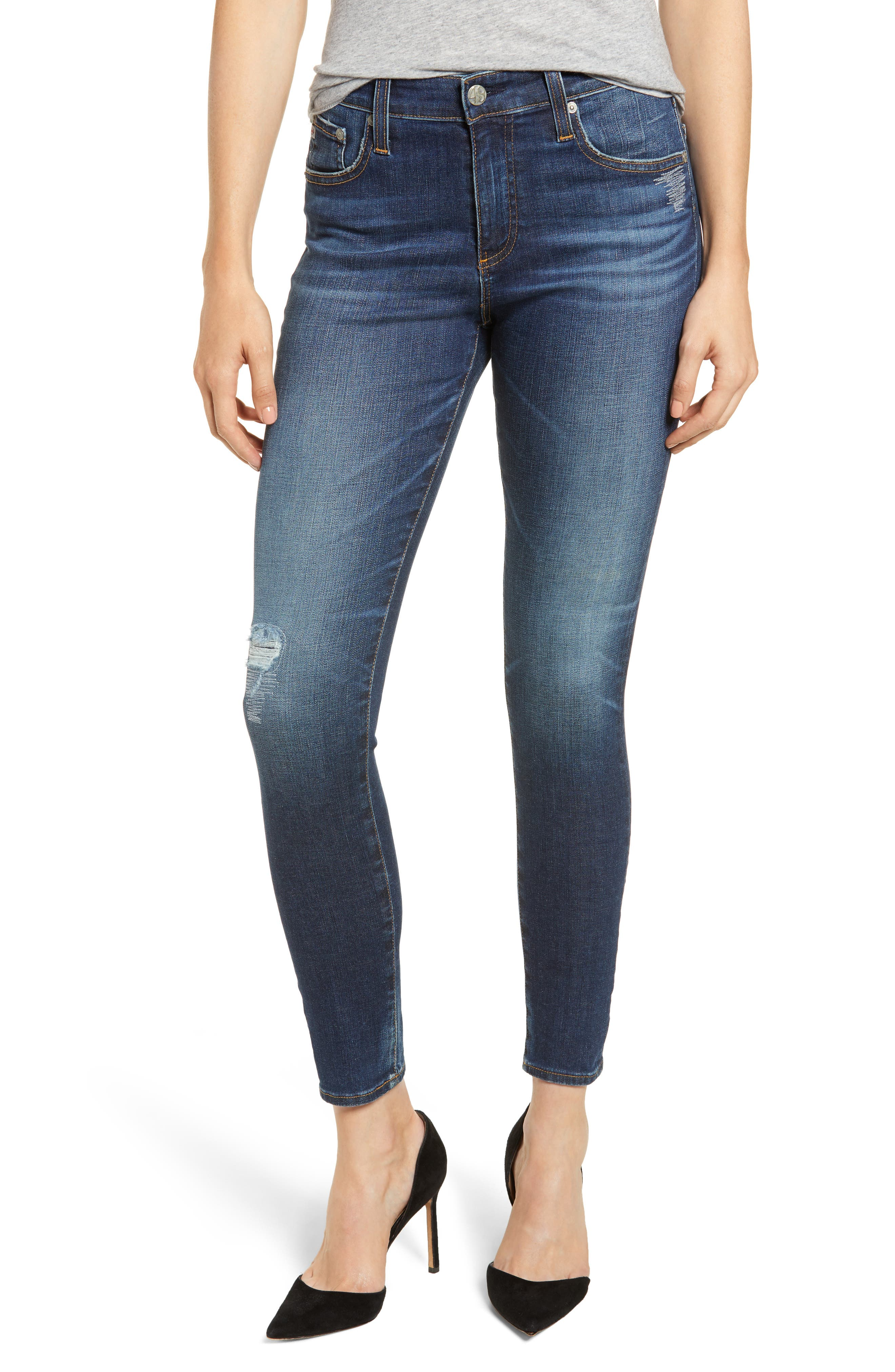 The Farrah High Waist Ankle Skinny Jeans,                             Main thumbnail 1, color,                             11Y SHIFTED MENDED