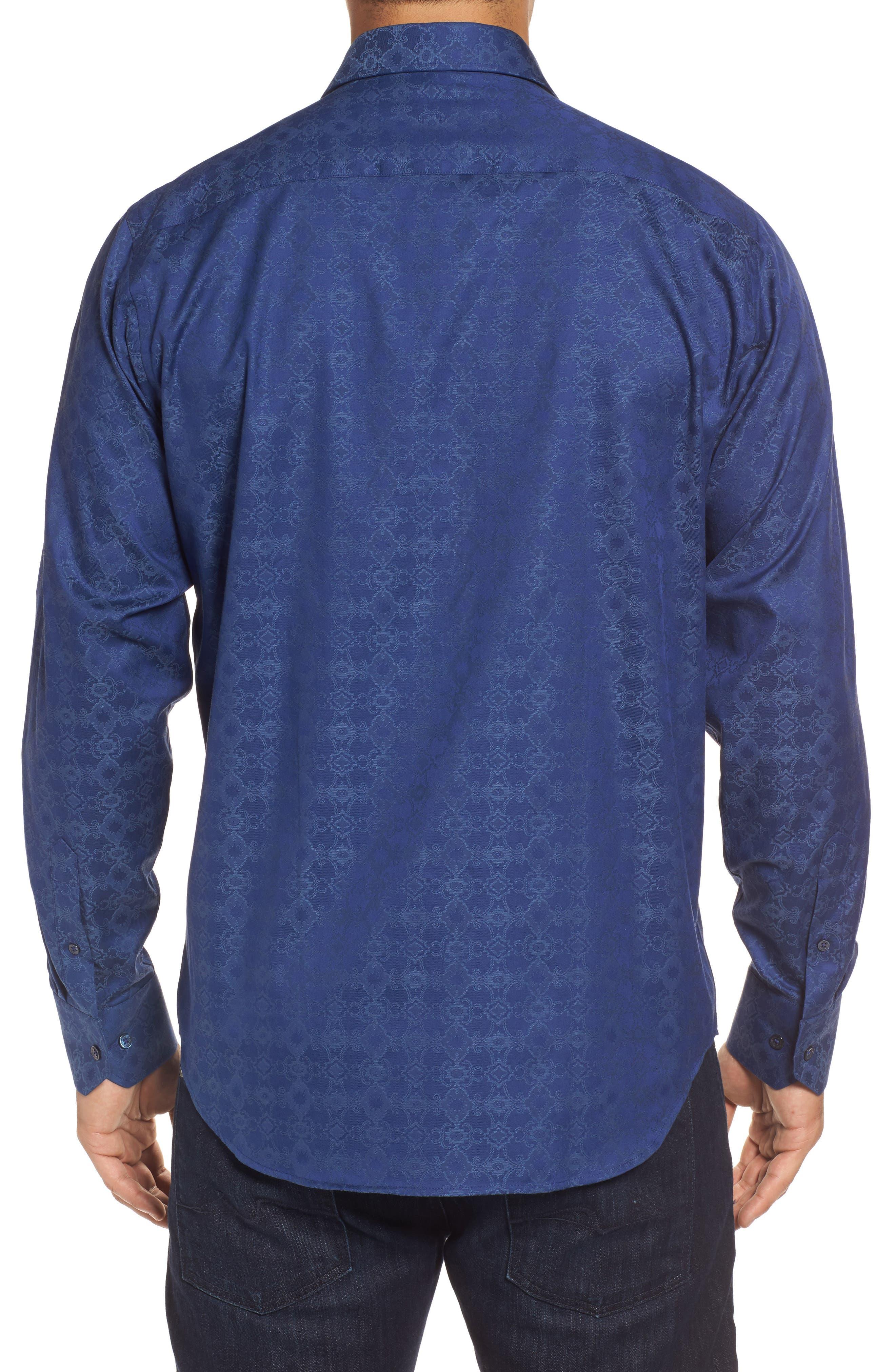 Classic Fit Filigree Jacquard Sport Shirt,                             Alternate thumbnail 2, color,