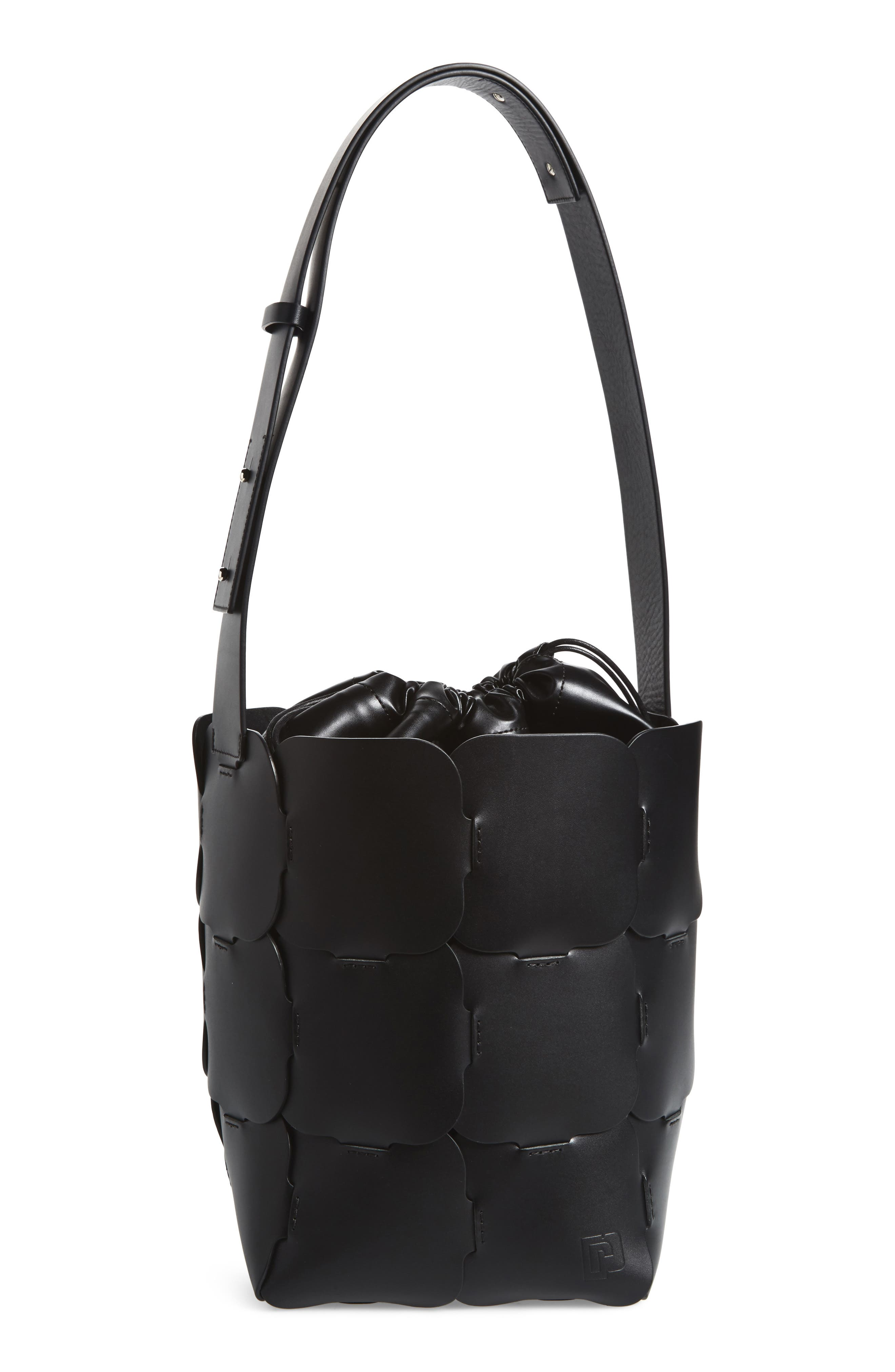 Medium Element Leather Bucket Bag,                             Main thumbnail 1, color,                             BLACK