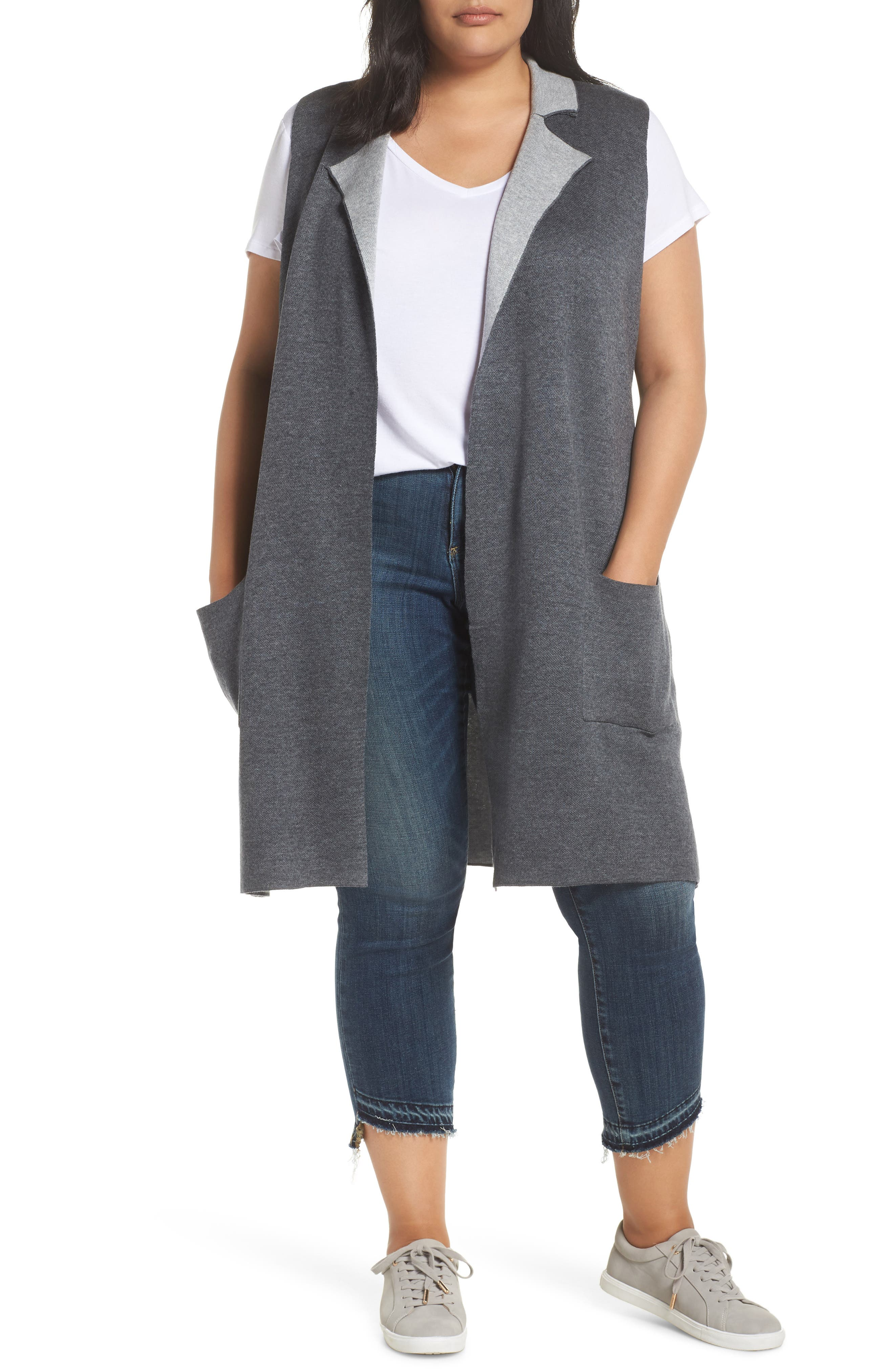 Plus Size Bobeau Jasper Double Face Sweater Vest, Grey
