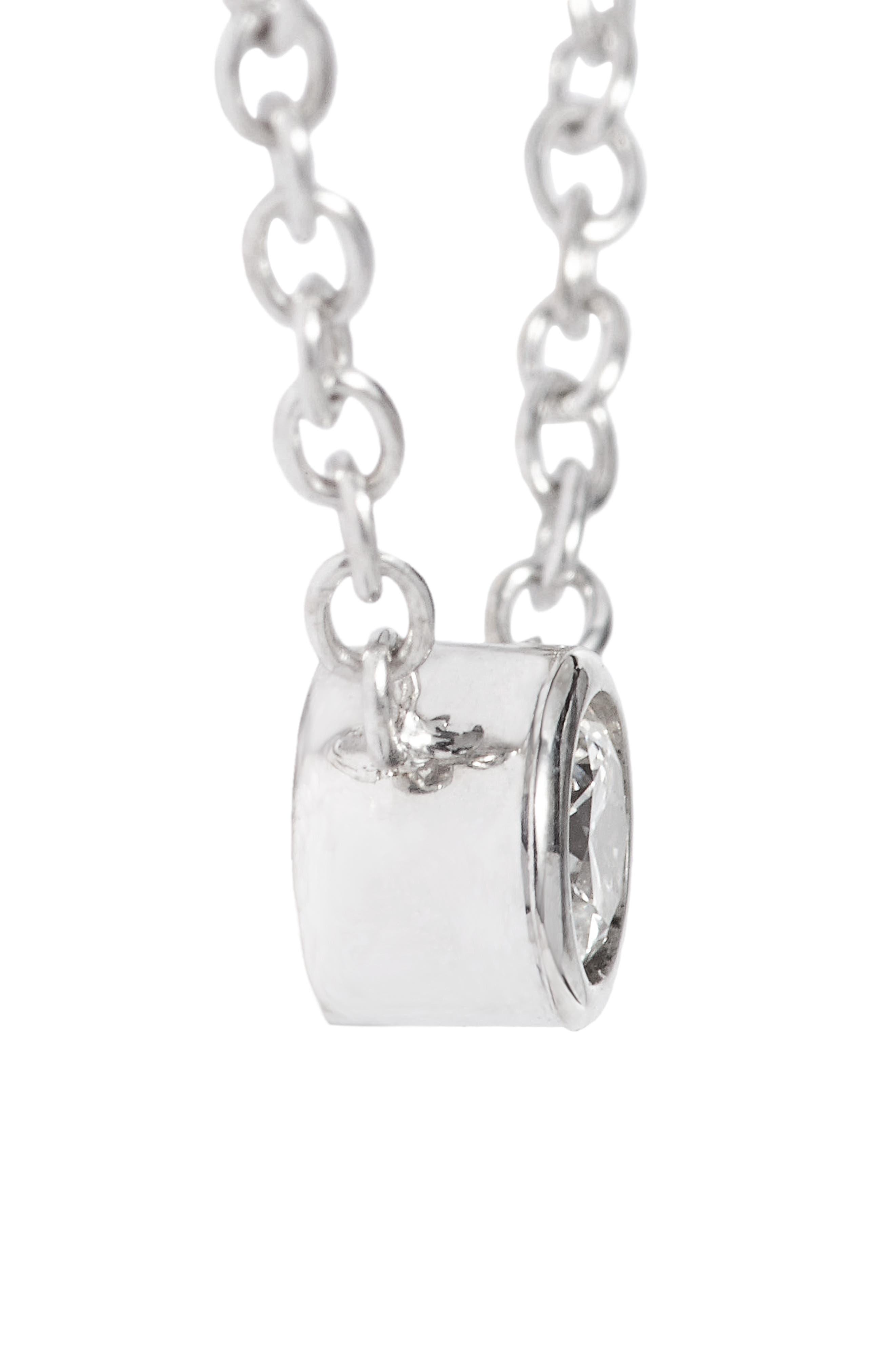 Diamond Bezel Pendant Necklace,                             Alternate thumbnail 5, color,                             WHITE GOLD