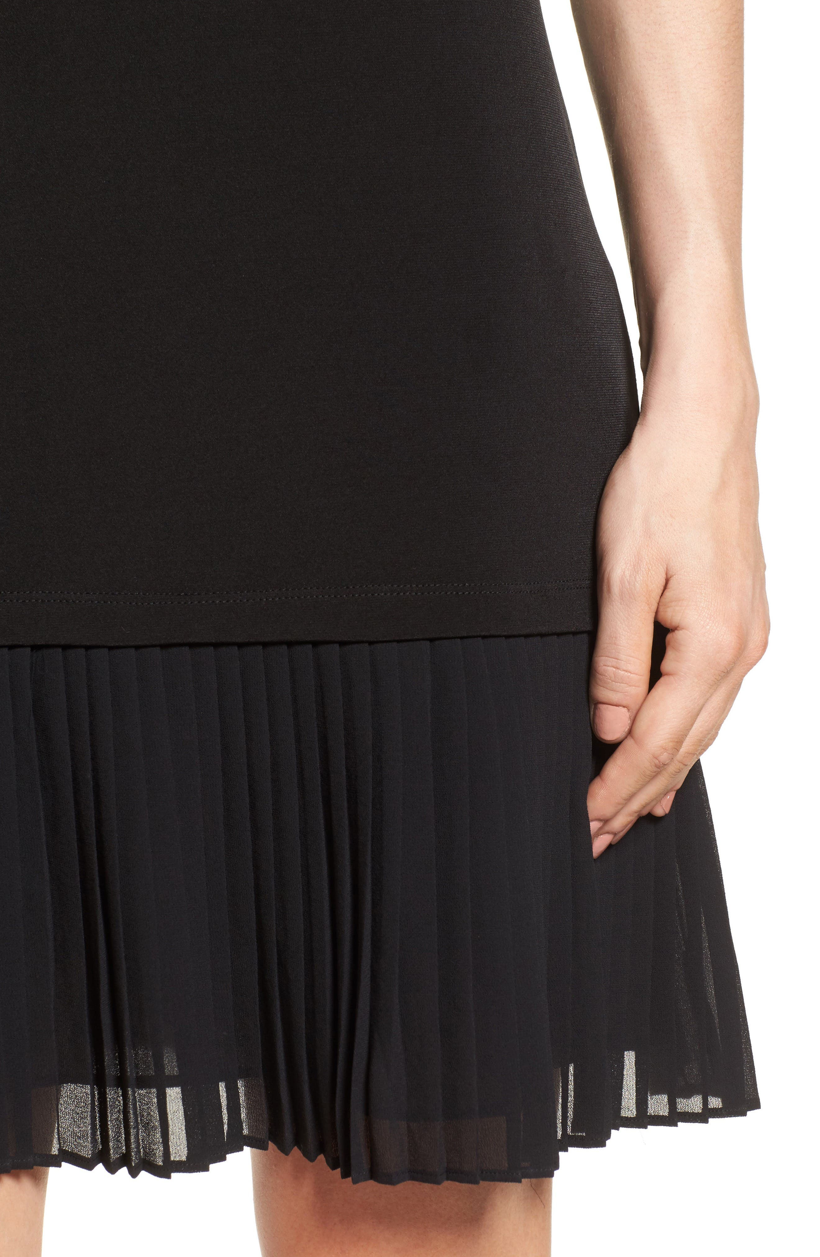 Pleat Chiffon Hem Jersey Dress,                             Alternate thumbnail 4, color,                             001