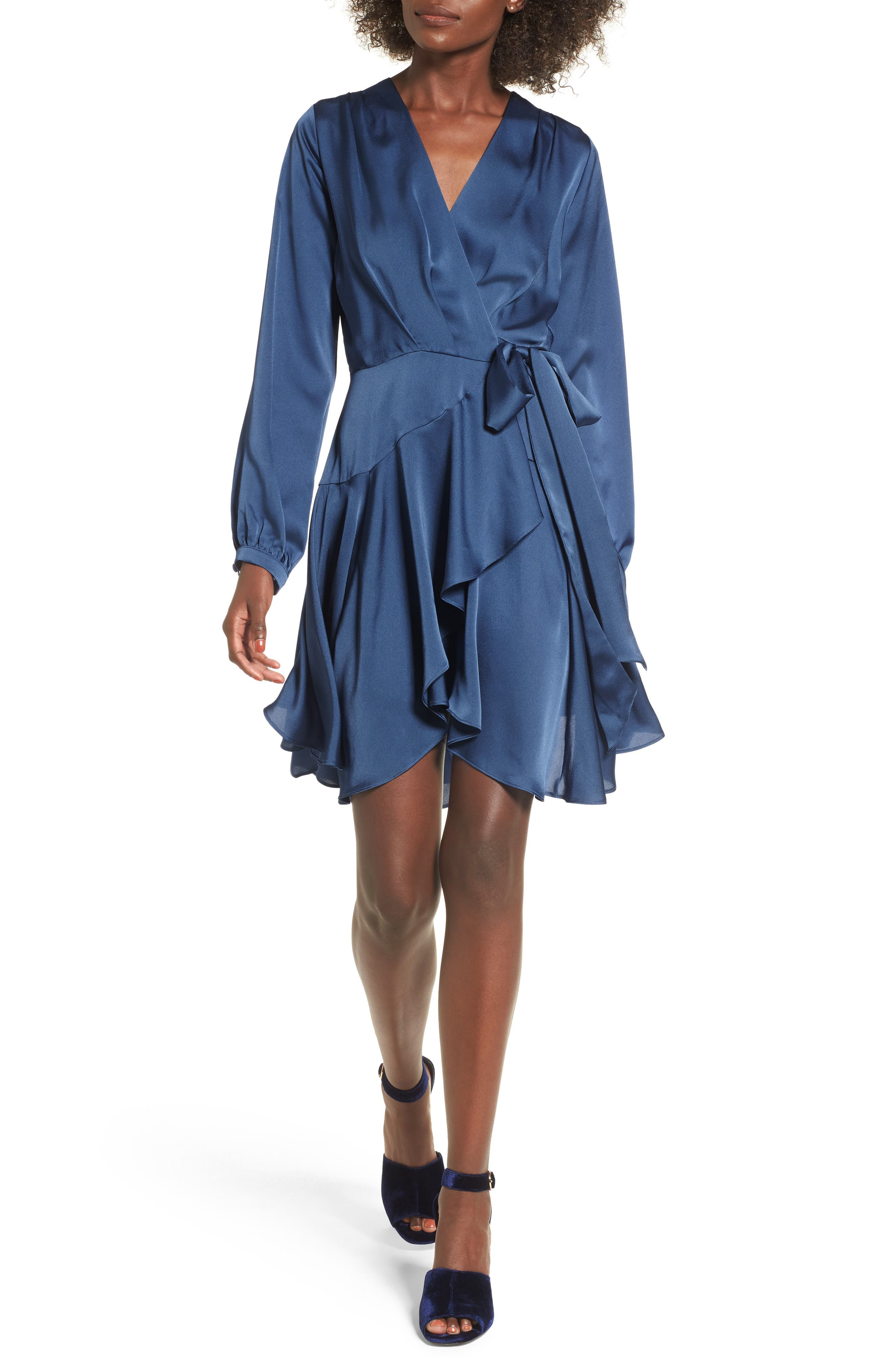 Elsa Satin Ruffle Wrap Minidress,                         Main,                         color, 420