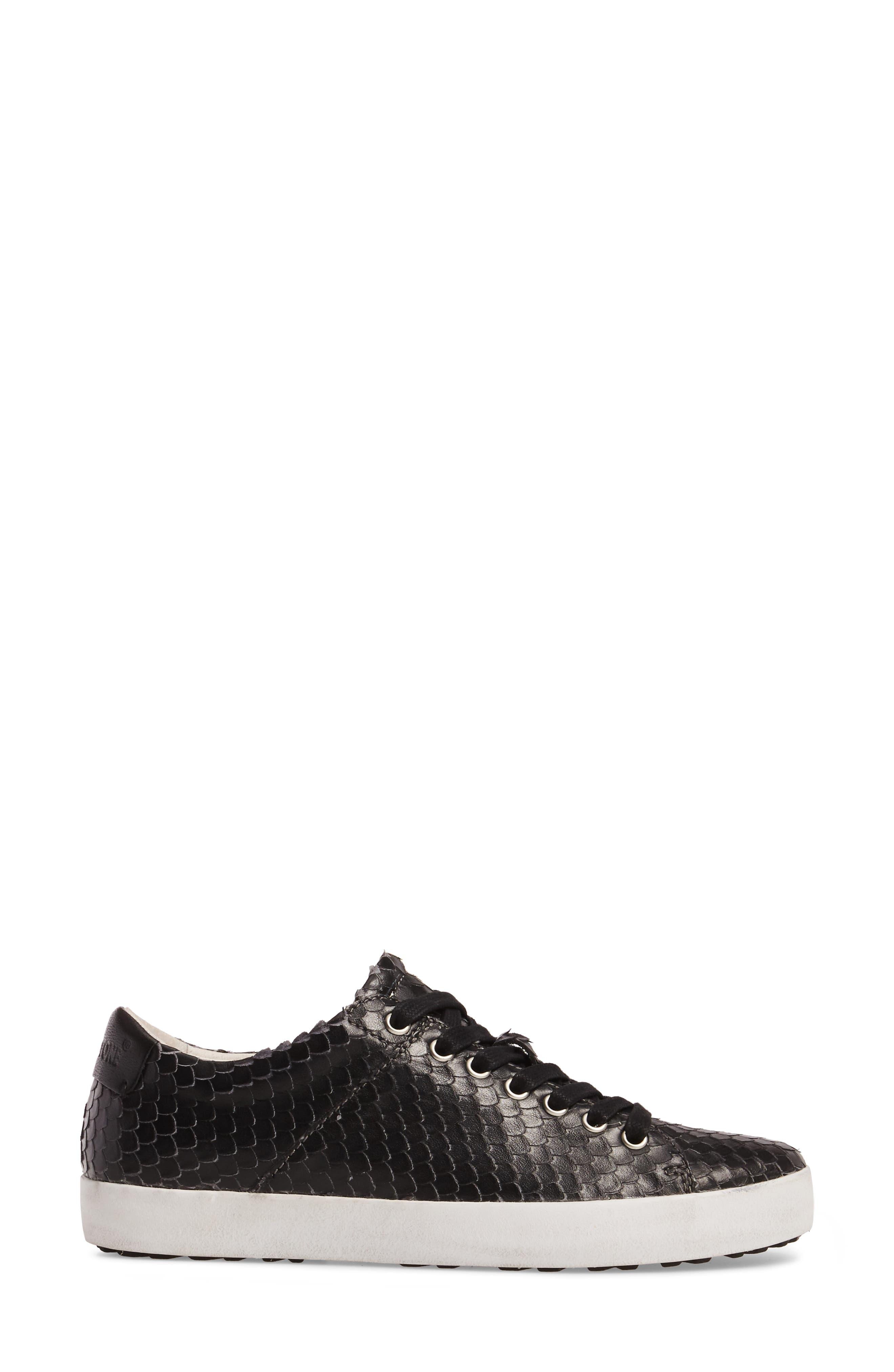 OL25 Sneaker,                             Alternate thumbnail 3, color,                             BLACK LEATHER