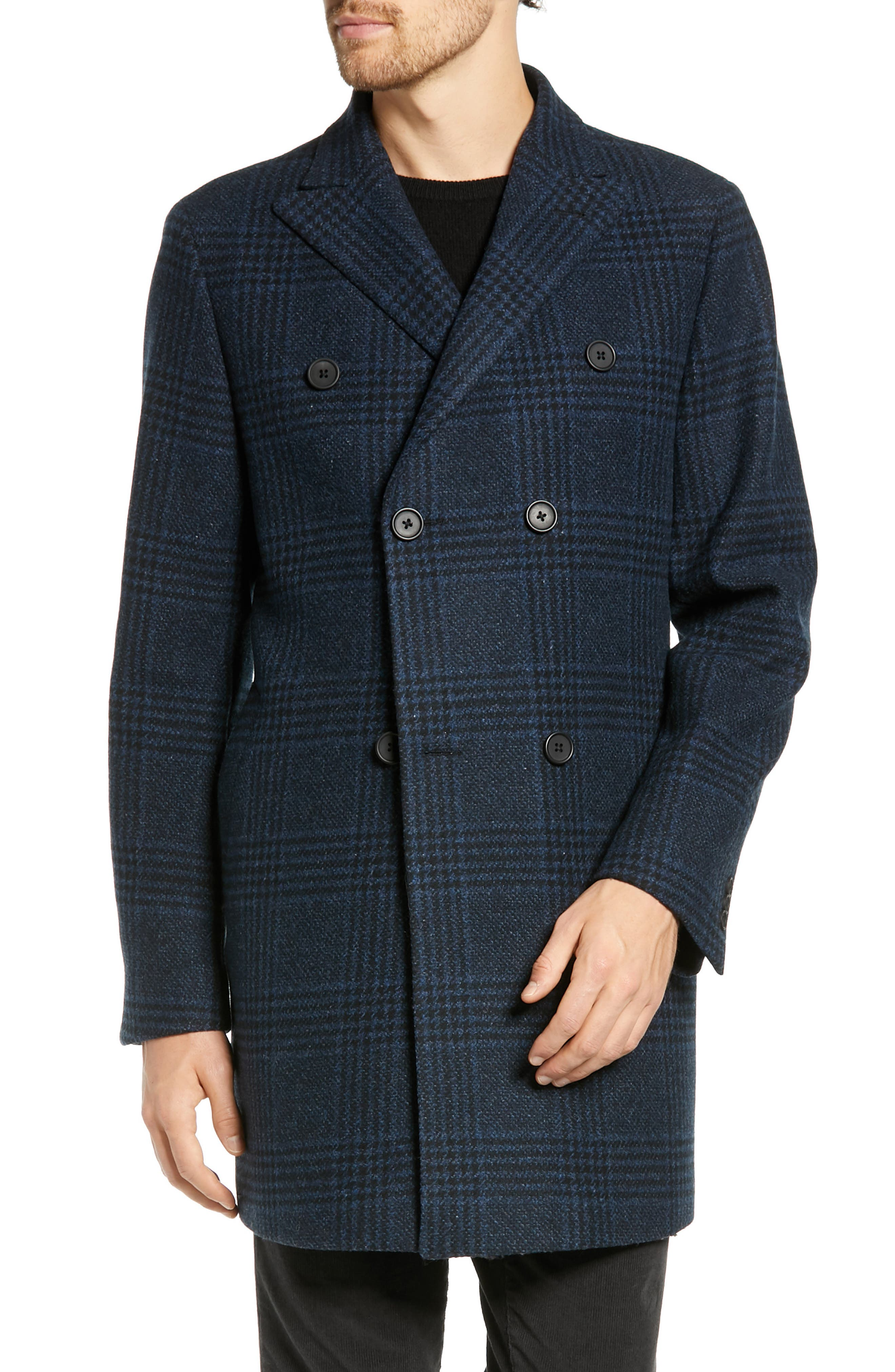 Jackson Extra Trim Fit Wool Overcoat,                         Main,                         color, NAVY