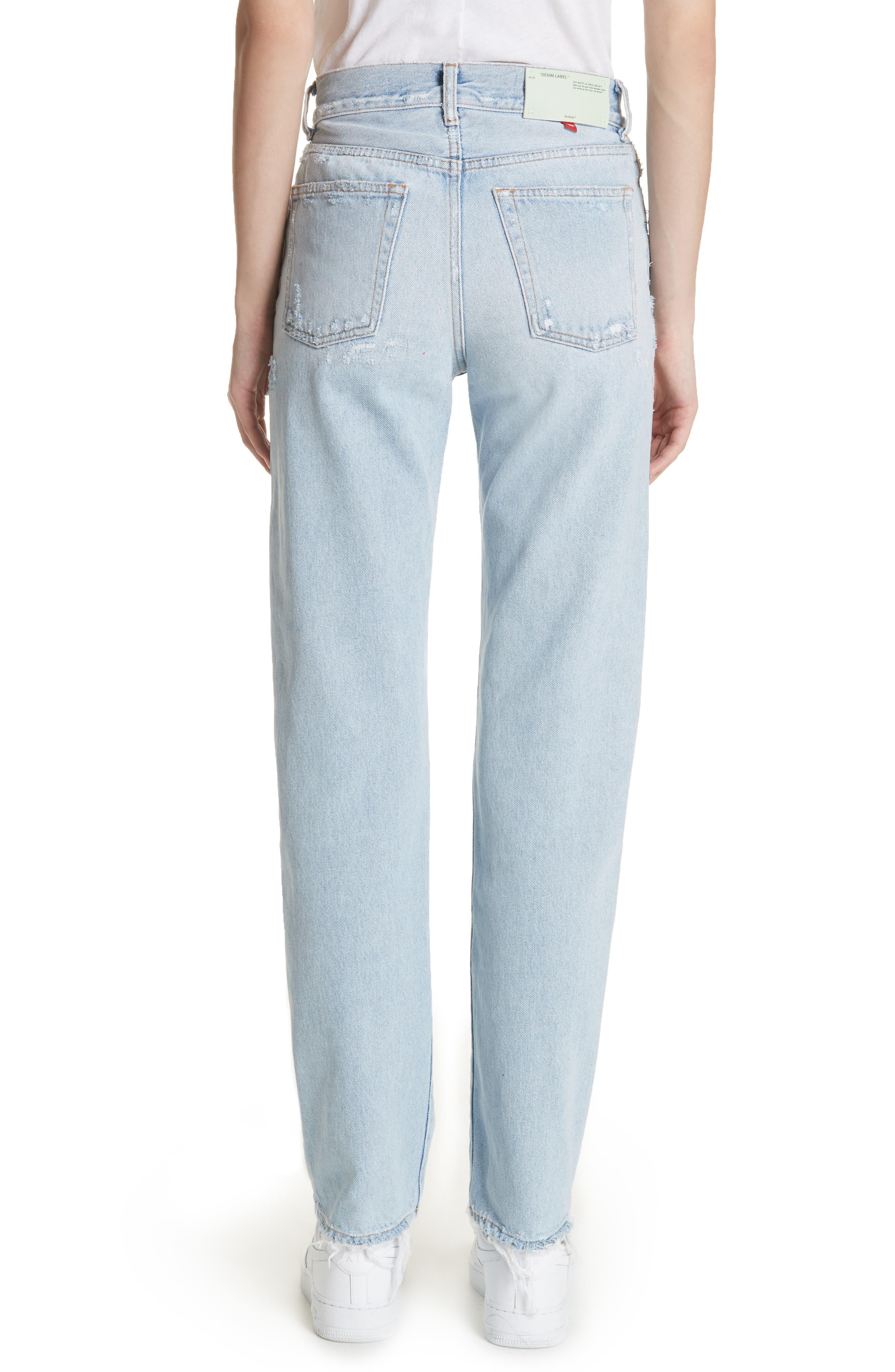 Distressed Straight Leg Jeans,                             Alternate thumbnail 2, color,                             400