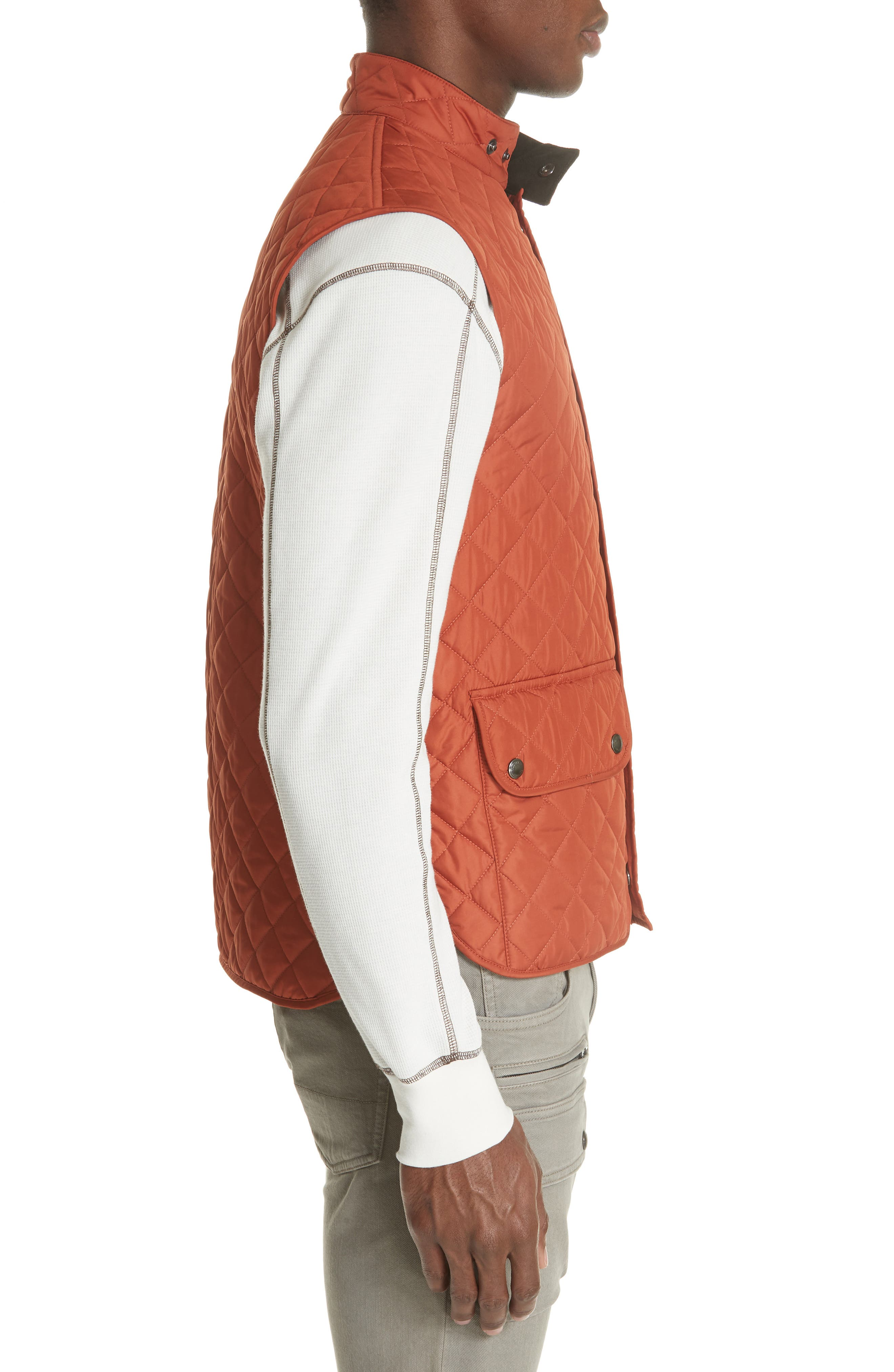 Waistcoat Tech Quilted Vest,                             Alternate thumbnail 3, color,                             BRIGHT TAMERIND