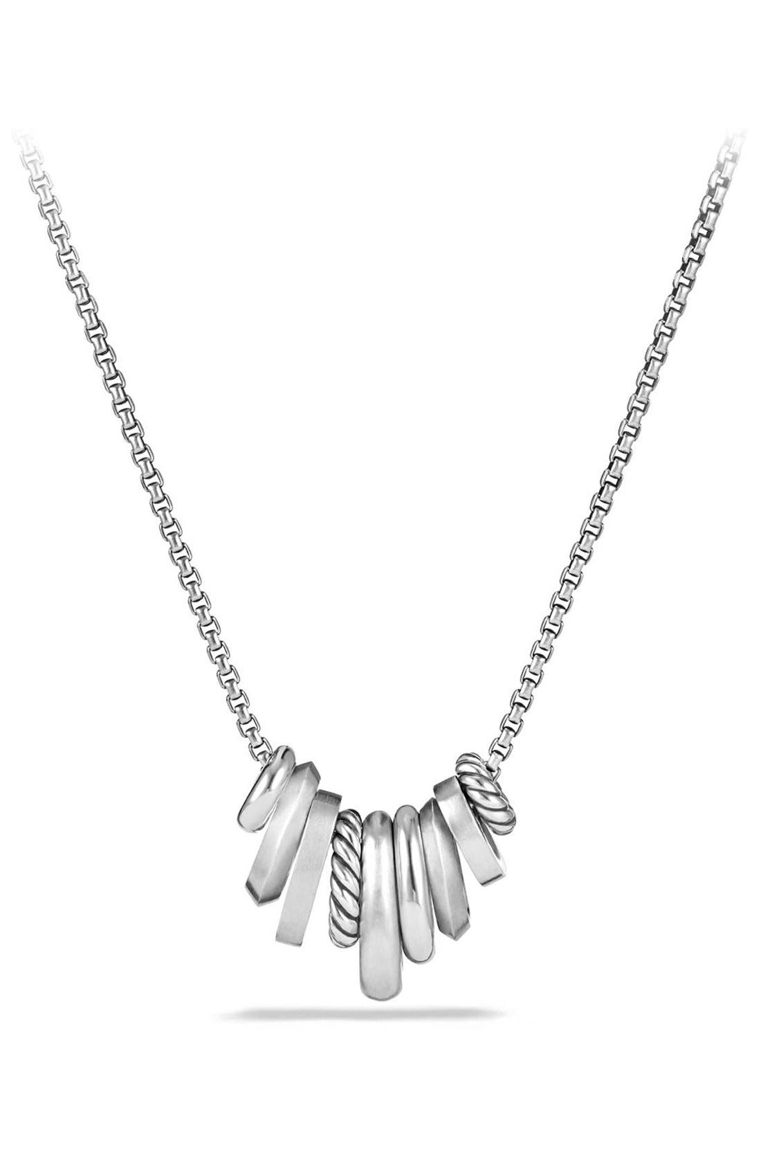 'Stax' Small Pendant Necklace with Diamonds,                             Alternate thumbnail 4, color,                             SILVER