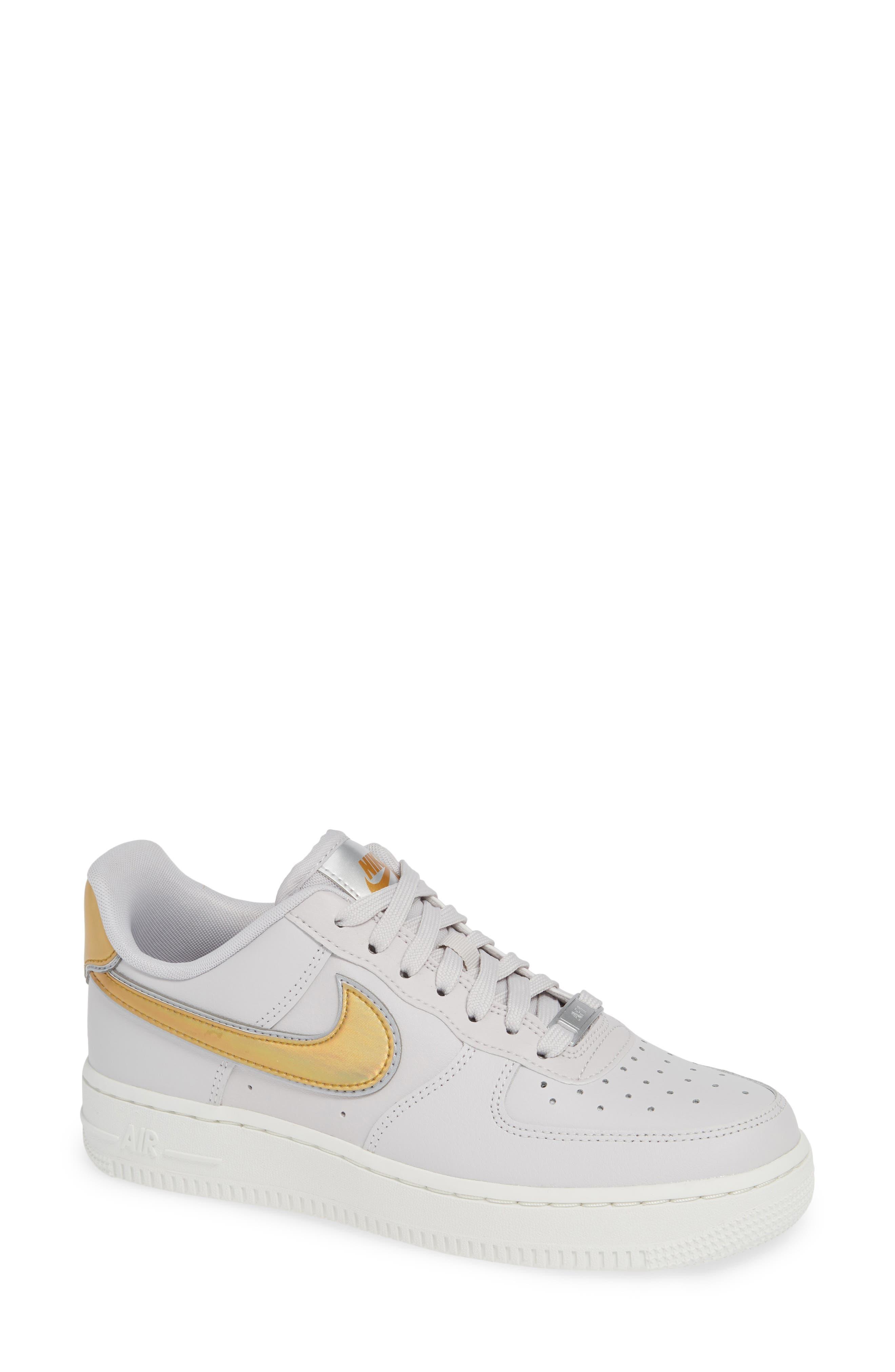 Air Force 1 '07 Premium Sneaker,                             Main thumbnail 1, color,                             GREY/ METALLIC GOLD- WHITE