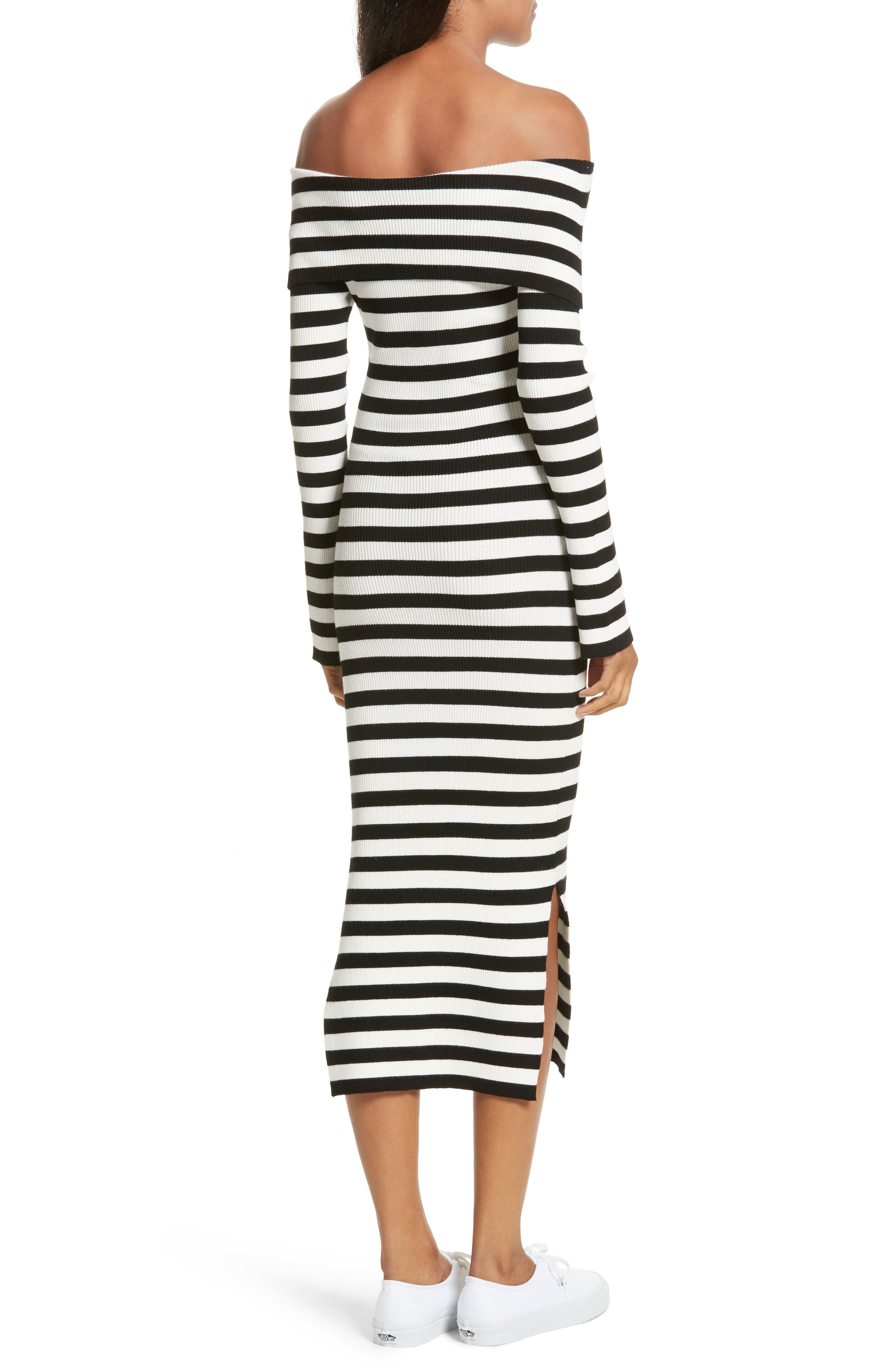Off the Shoulder Ribbed Maxi Dress,                             Alternate thumbnail 4, color,