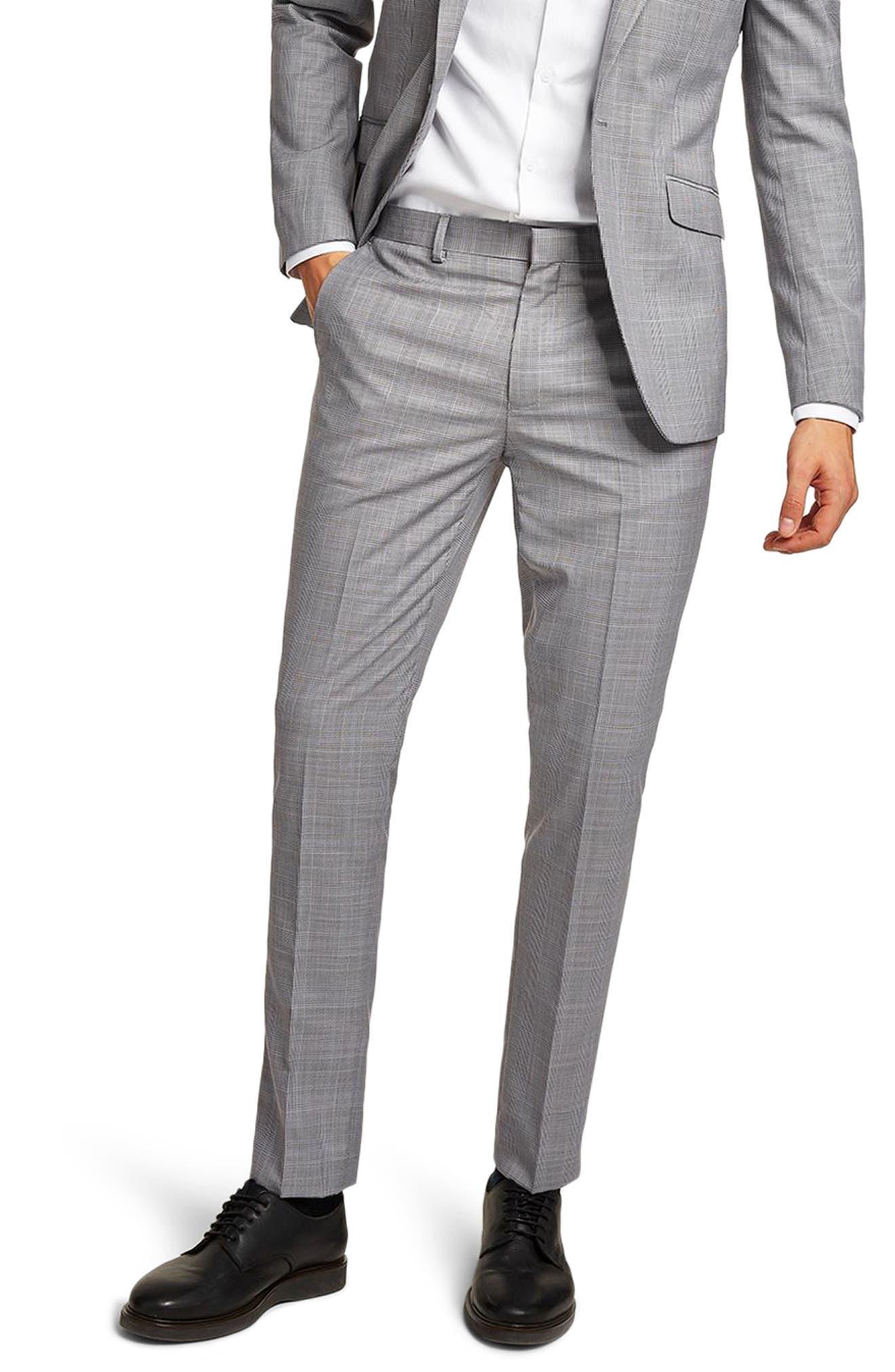 TOPMAN,                             Skinny Fit Check Suit Trousers,                             Main thumbnail 1, color,                             020