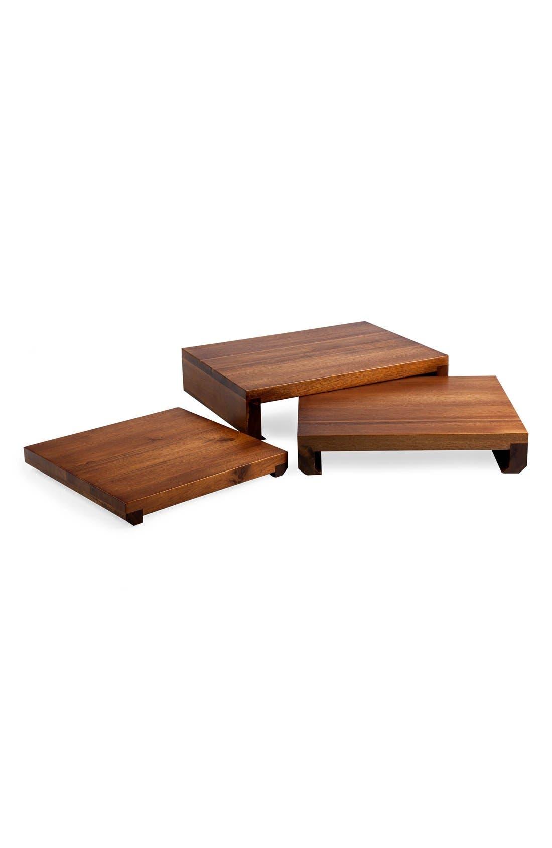 'Etage' Wood Serving Pedestals,                             Alternate thumbnail 2, color,                             BROWN