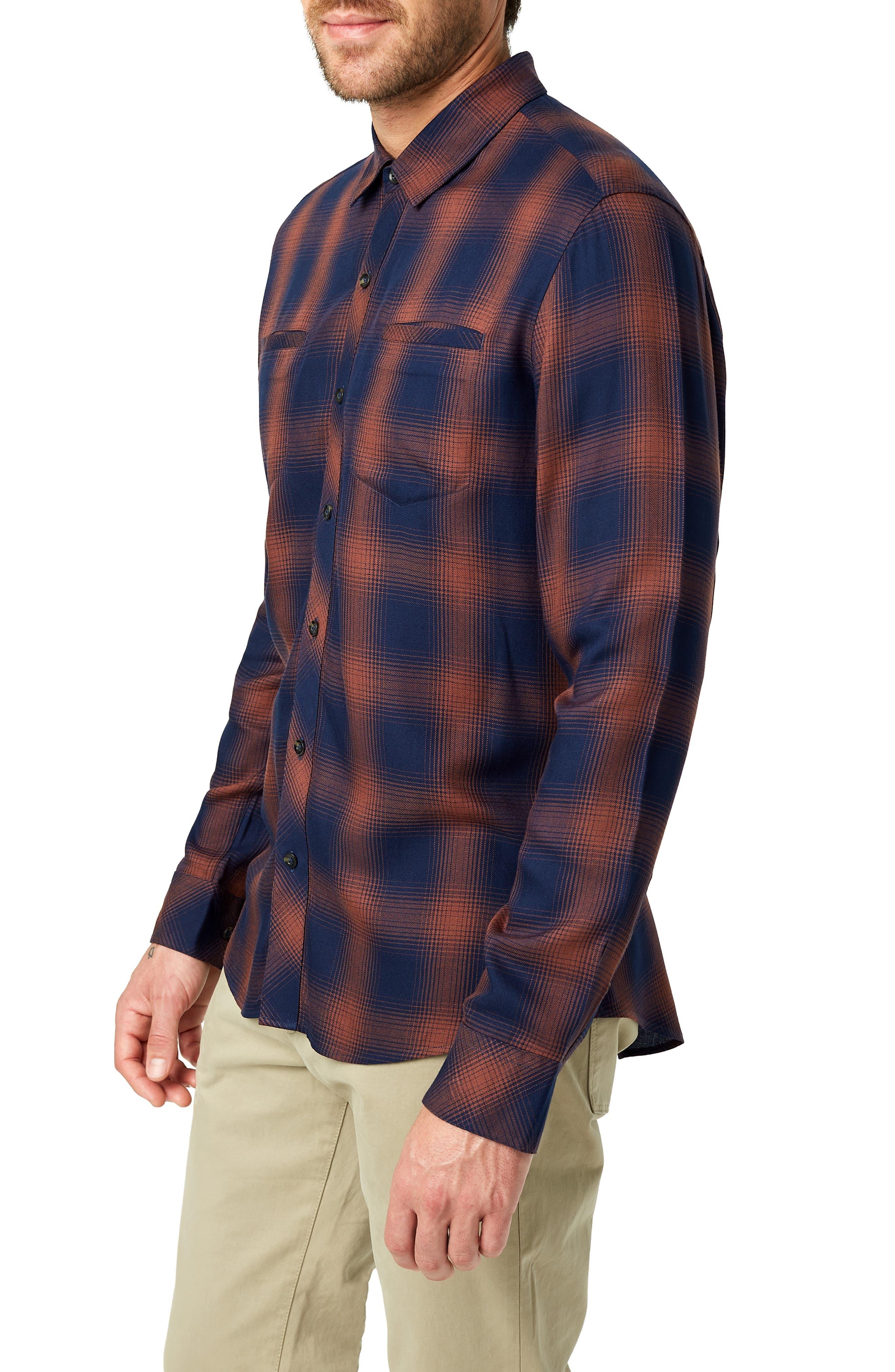 Ewan Trim Fit Flannel Shirt,                             Alternate thumbnail 4, color,                             NAVY CHESTNUT