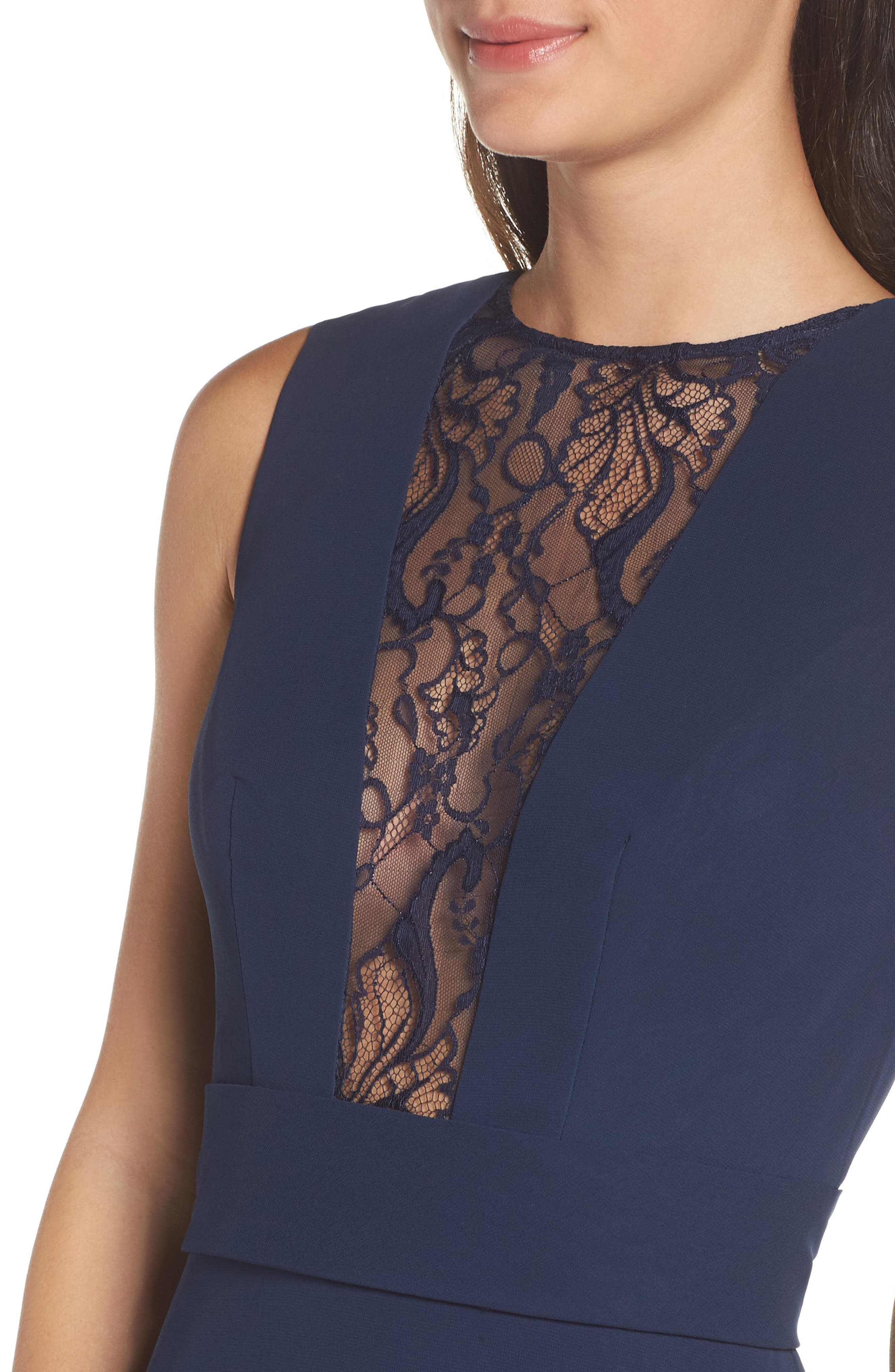 HAYLEY PAIGE OCCASIONS,                             Lace Inset Chiffon Gown,                             Alternate thumbnail 5, color,                             NAVY