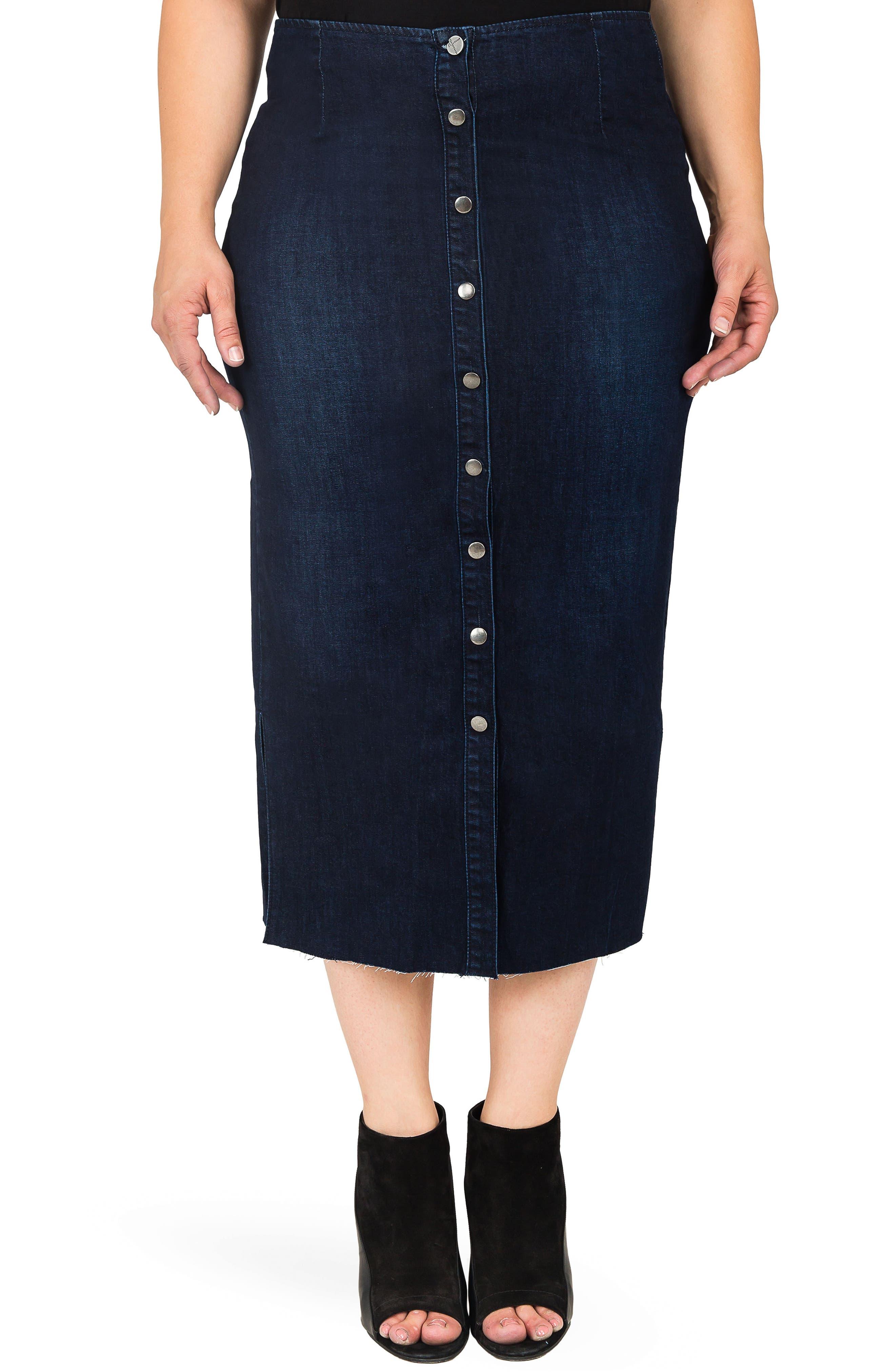 Elain Denim Pencil Skirt,                         Main,                         color, BLUE