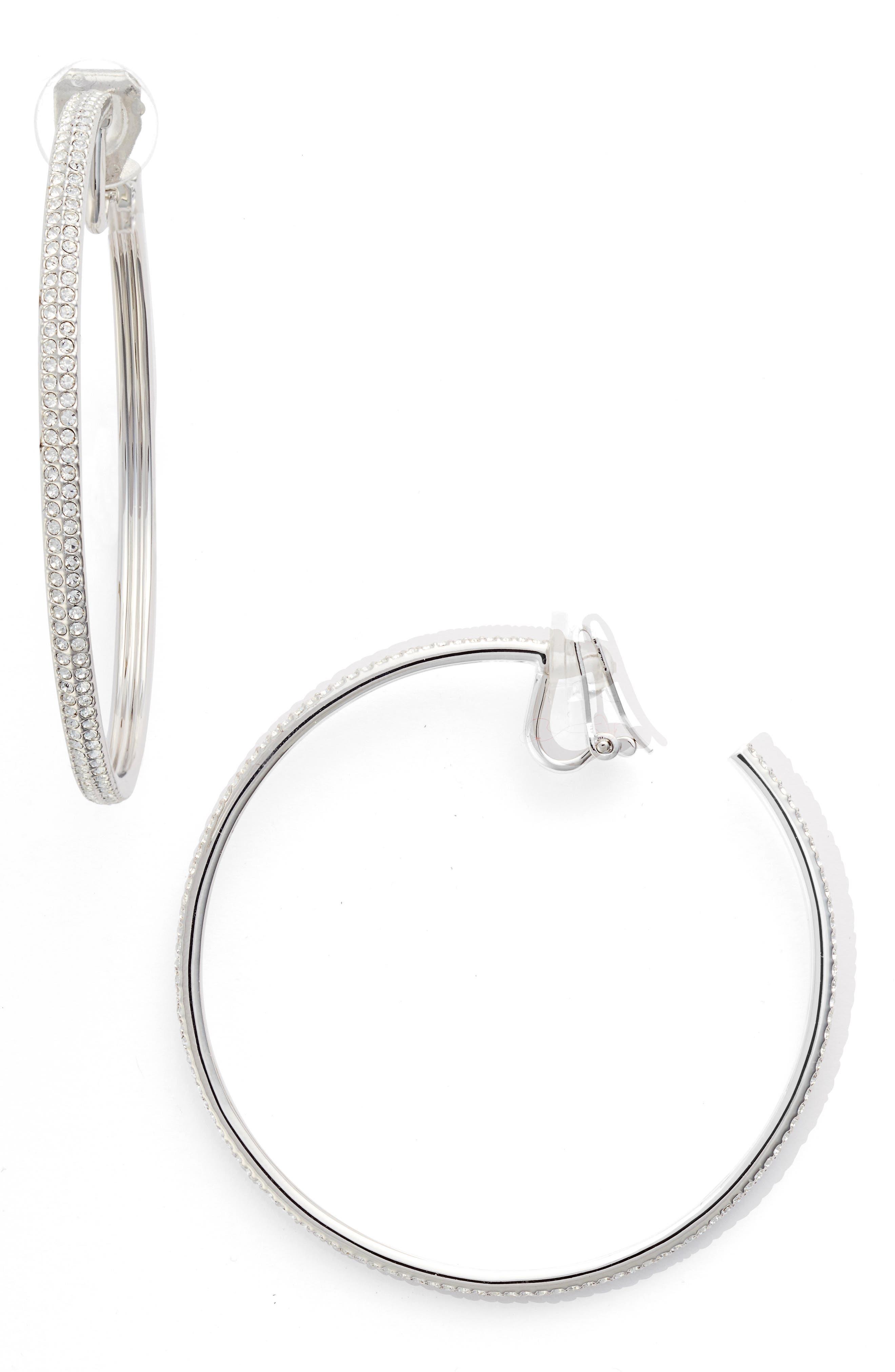 Large Hoop Earrings,                         Main,                         color, SILVER