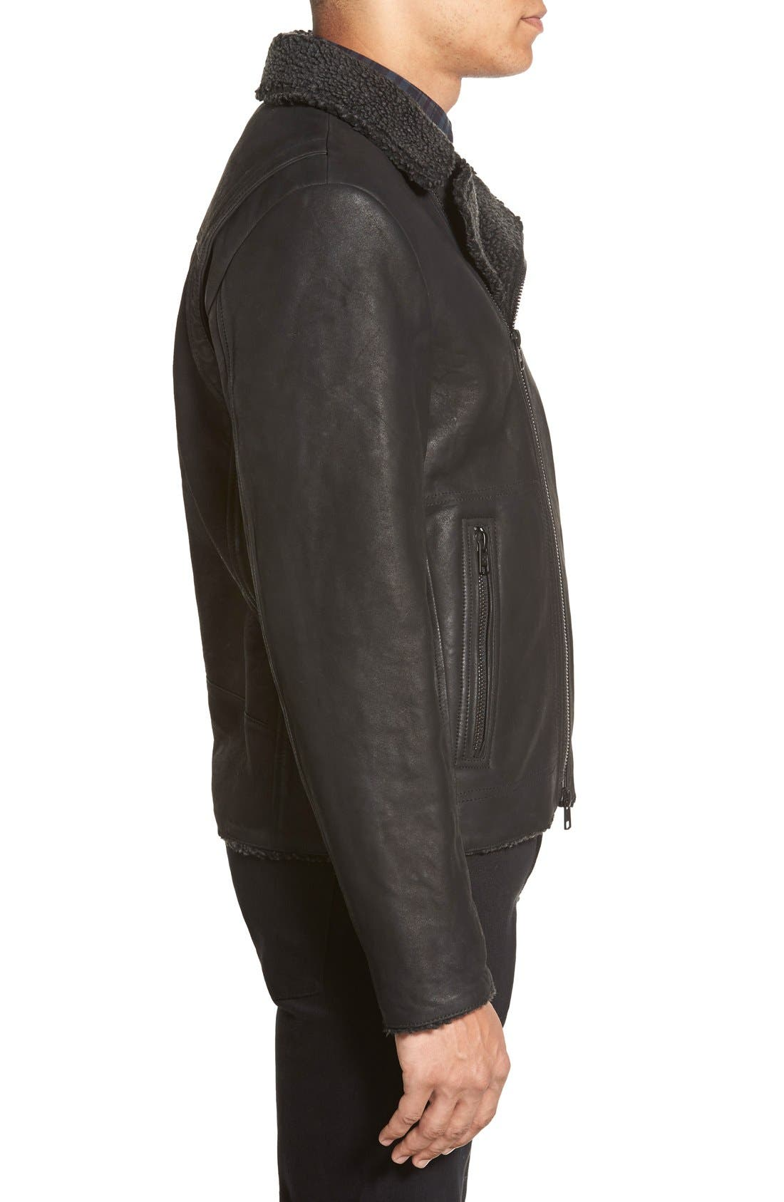 Leather Moto Jacket with Faux Shearling Lining,                             Alternate thumbnail 3, color,
