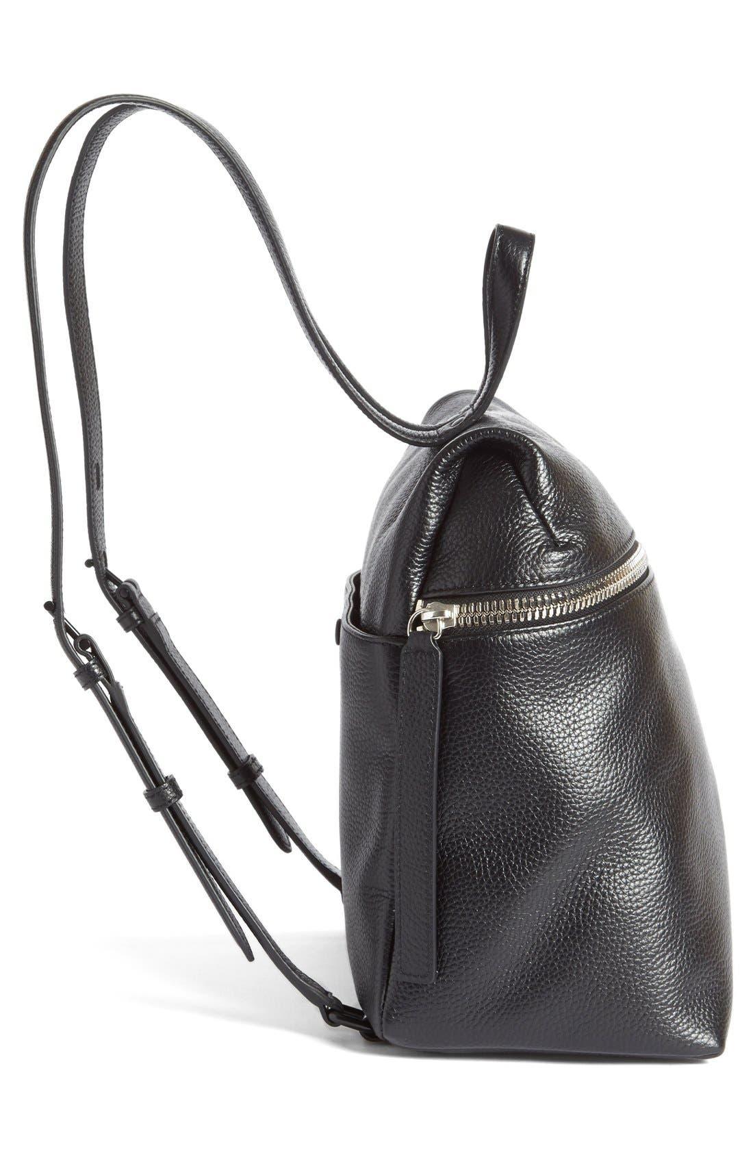 Leather Backpack,                             Alternate thumbnail 8, color,                             BLACK