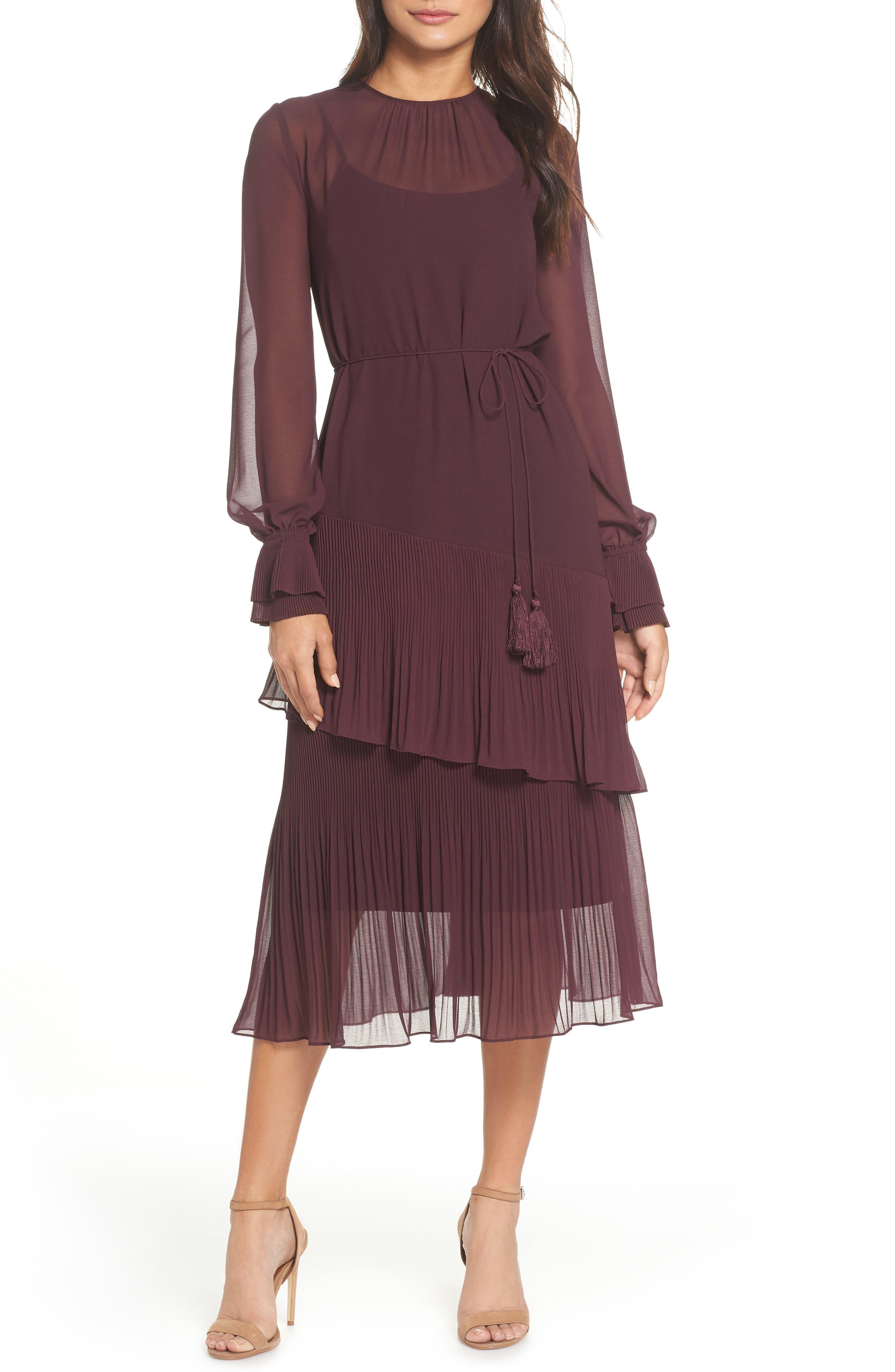 Pleat Detail Midi Dress,                             Main thumbnail 1, color,                             BURGUNDY STEM