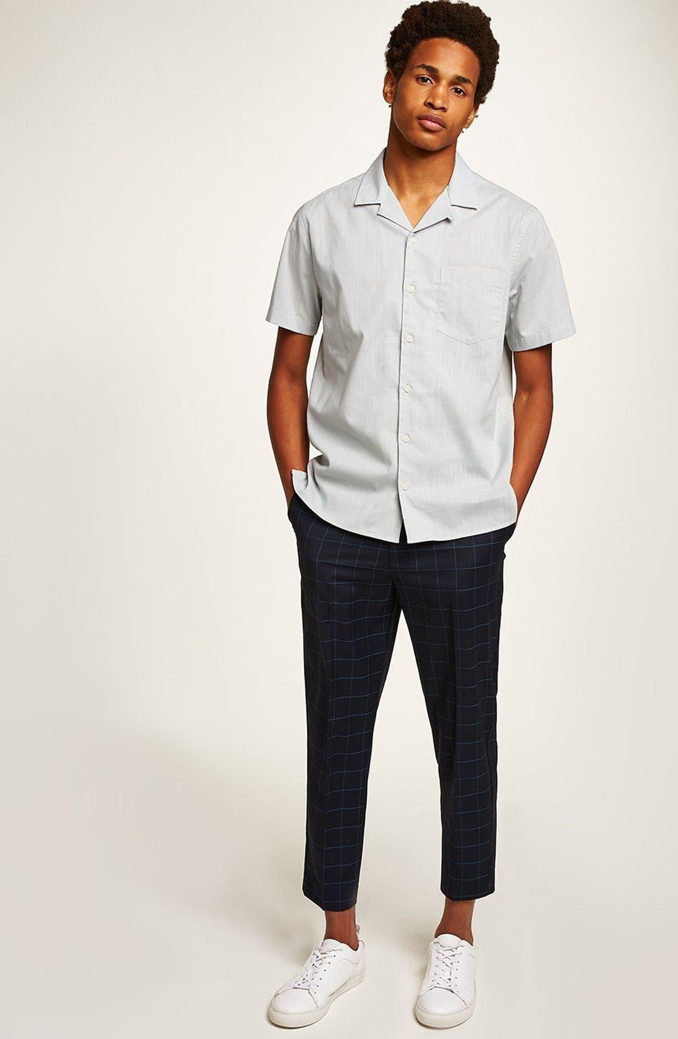 Slim Fit Grid Check Crop Pants,                             Alternate thumbnail 5, color,                             NAVY BLUE