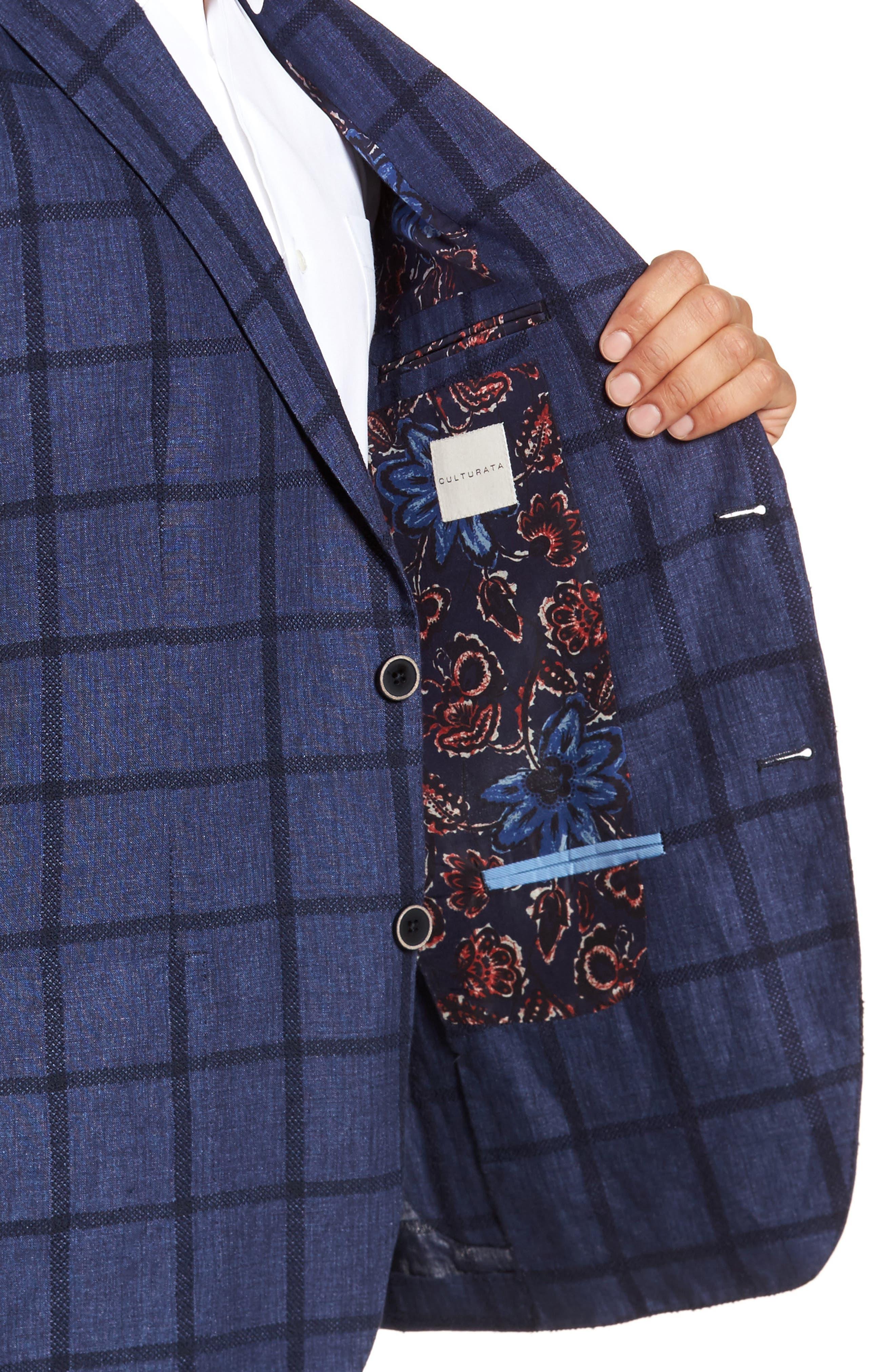 Trim Fit Windowpane Linen Blend Sport Coat,                             Alternate thumbnail 4, color,                             400