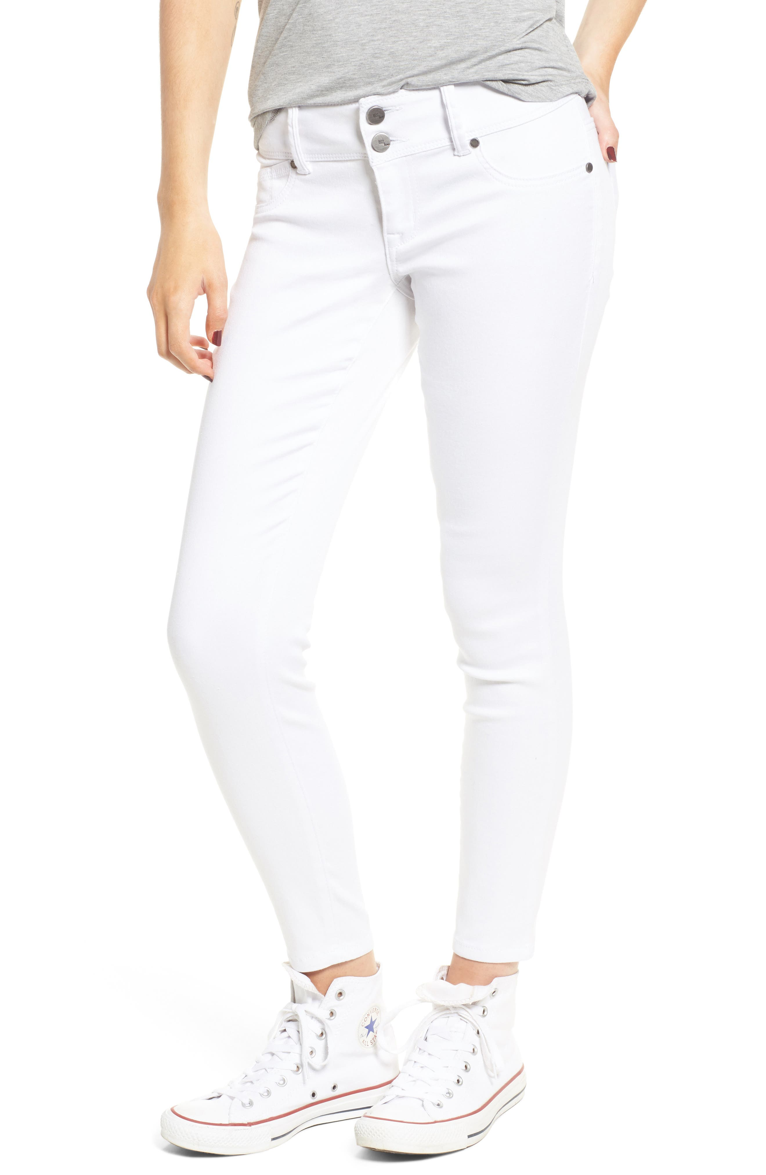 Double Button Skinny Jeans,                             Main thumbnail 1, color,                             100
