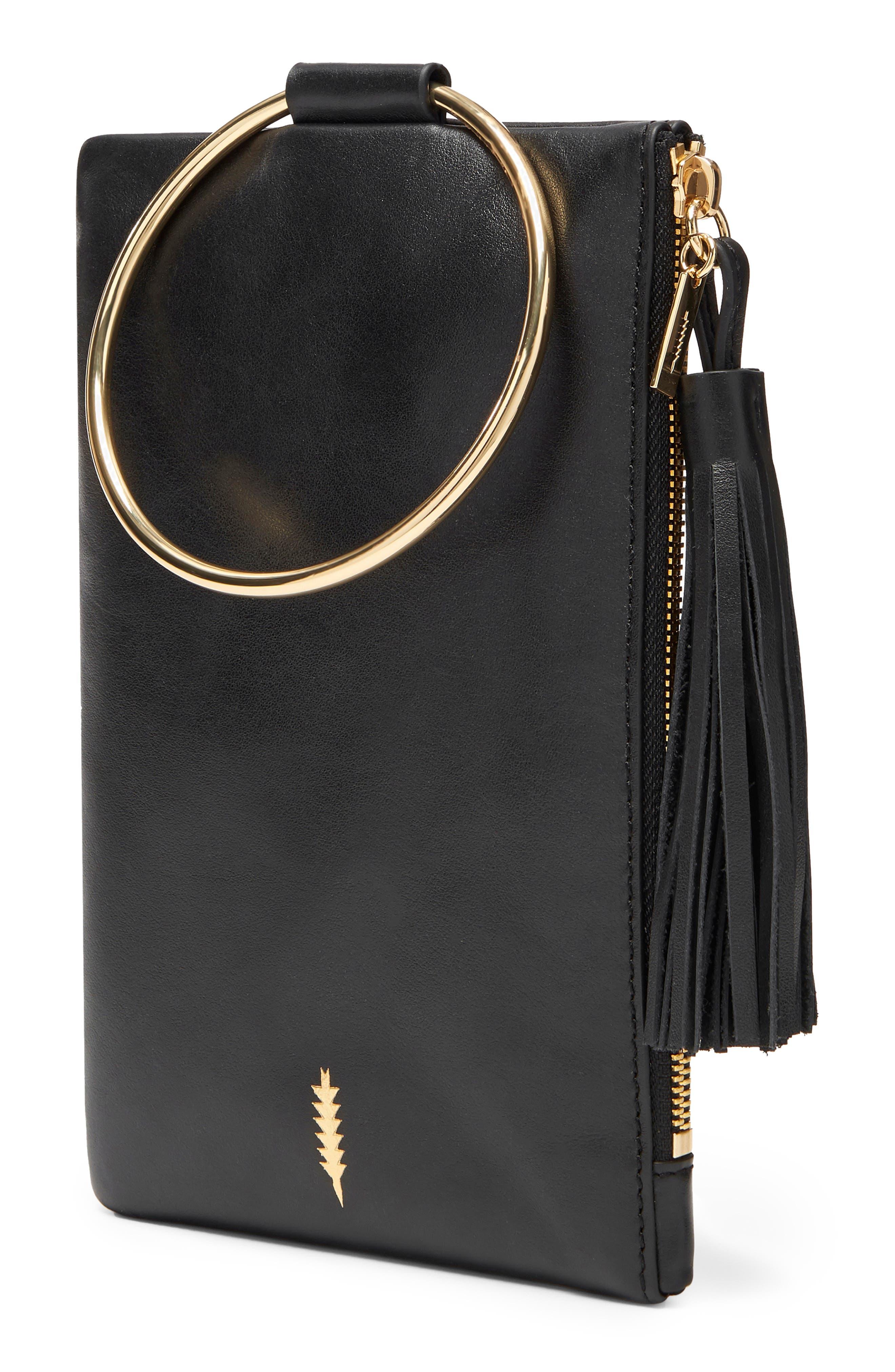 Nolita Ring Handle Leather Clutch,                             Alternate thumbnail 4, color,                             BLACK GOLD
