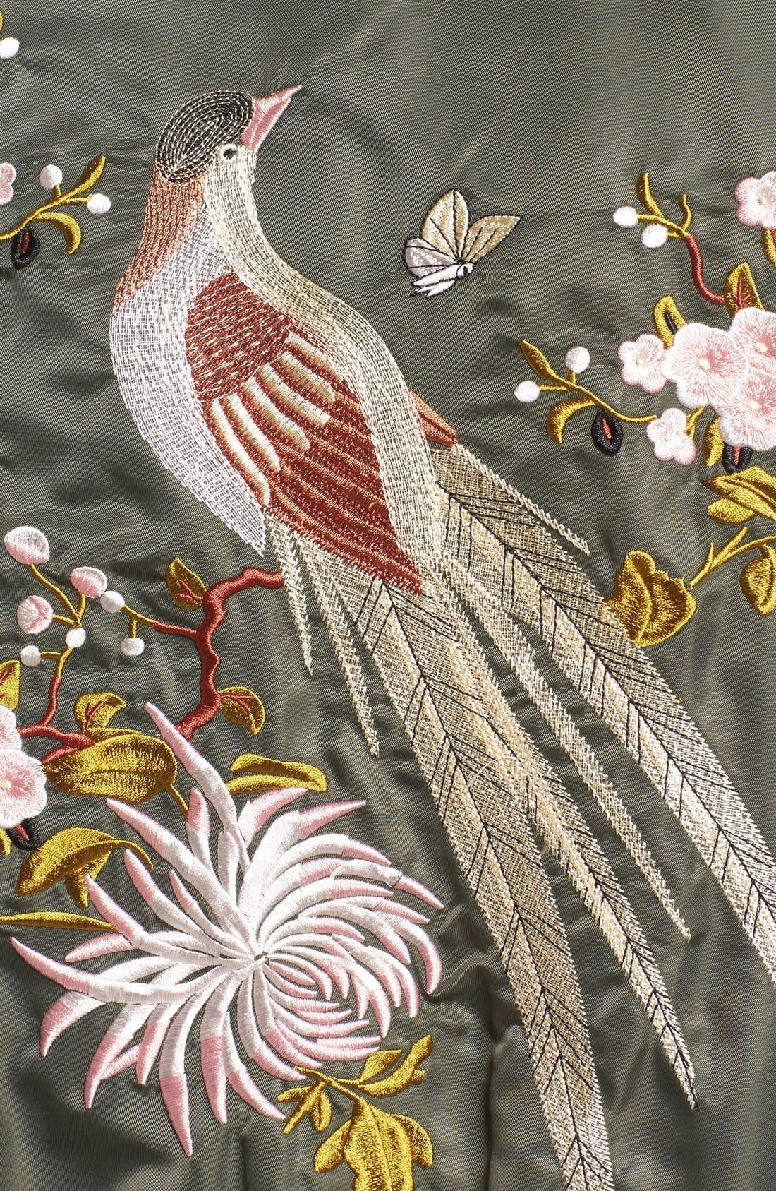 Embroidered Satin Bomber Jacket,                             Alternate thumbnail 5, color,                             310